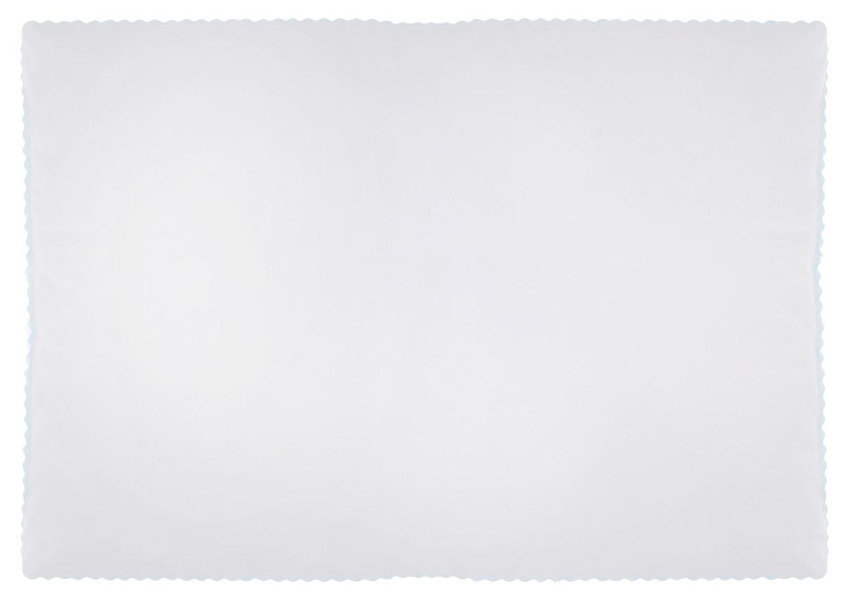 """Подушка Легкие сны """"Перси"""" подарит вам непревзойденную мягкость и нежность, ощутите деликатную поддержку головы и шеи, дарящую легкое чувство невесомости. В качестве наполнителя используется синтетический сверхтонкий и практически невесомый материал, названный """"лебяжьим пухом"""". Изделия с наполнителем из искусственного пуха легкие, мягкие и не вызывают аллергии, хорошо пропускают воздух, за ними легко ухаживать. Важно заметить, что синтетический пух столь же легок и приятен на ощупь, что и его натуральный прототип. Чехол изделия выполнен из микрофибры (100% полиэстер) белого цвета с узорным тиснением, по краю подушки выполнена отделка зигзагообразным кантом бирюзового цвета. Подушку можно стирать в стиральной машине. Степень поддержки: мягкая."""