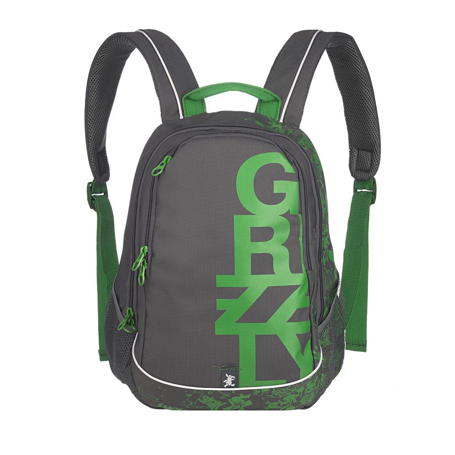 Рюкзак городской мужской Grizzly, цвет: серый, зеленый, 18 л. RU-400-1/1RU-400-1/1Рюкзак городской Grizzl выполнен из высококачественного нейлона и оформлен оригинальным фирменным принтом. Рюкзак имеет петлю для подвешивания и две удобные лямки, длина которых регулируется с помощью пряжек. На лицевой стороне расположено два основных отделения на молнии, которые содержат внутренний подвесной карман и карман-органайзер для канцелярских товаров. Также на лицевой стороне находится внутренний карман на молнии. Рюкзак оснащен двумя боковыми карманами из сетки. Изделие застегивается на застежку-молнию. Внешняя сторона дополнена анатомической укрепленной спинкой.