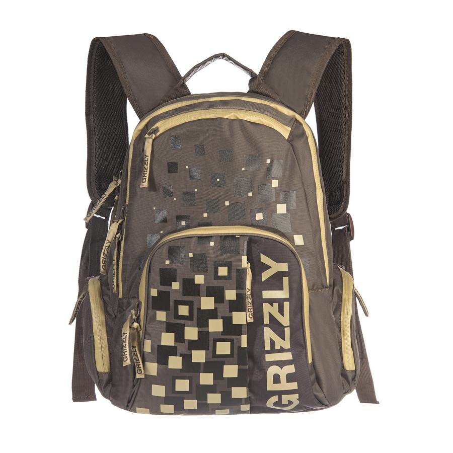 Рюкзак городской мужской Grizzly, цвет: коричневый, бежевый, 18 л. RU-510-1/4 рюкзаки grizzly рюкзак