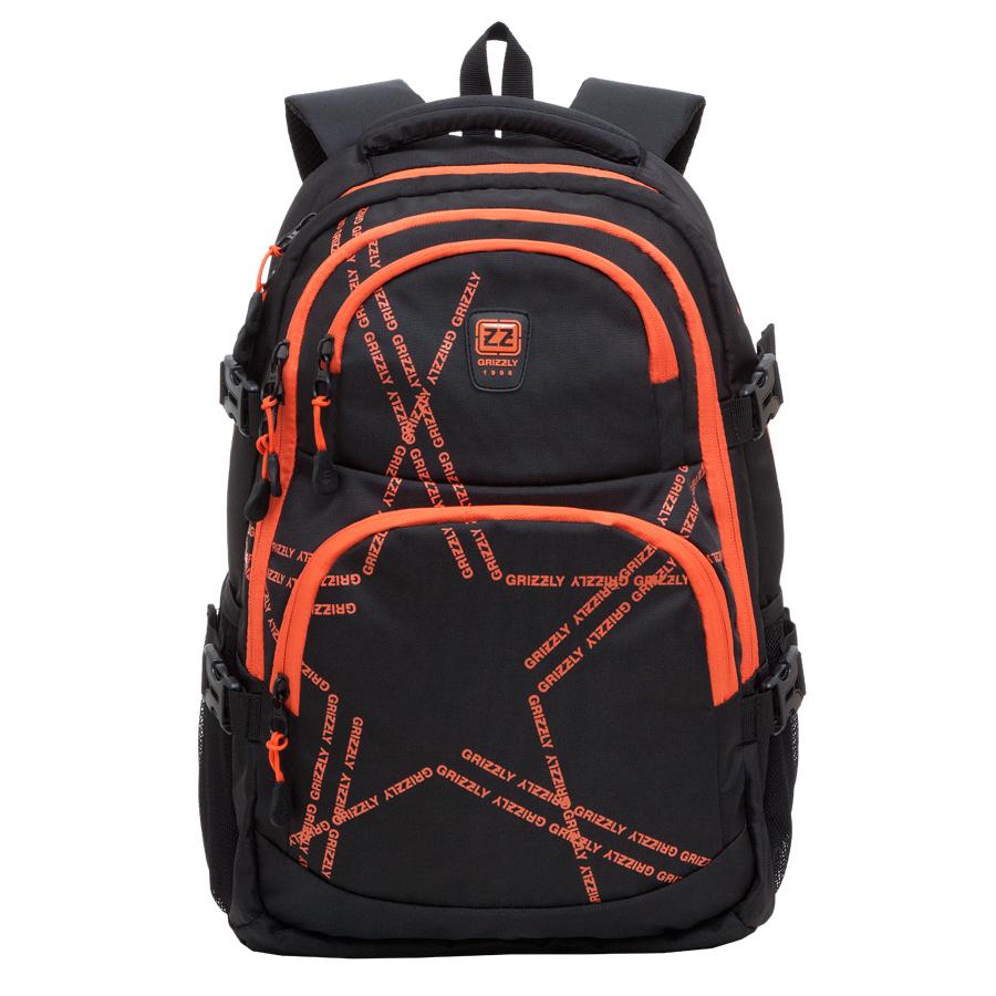 Рюкзак городской Grizzly, цвет: черный, оранжевый, 22 л. RU-618-2/2RU-618-2/2Рюкзак Grizzly молодежный содержат два отделения, два объемных кармана на молнии на передней стенке, боковые карманы из сетки, боковые стяжки-фиксаторы, внутренний карман-пенал для карандашей, внутренний подвесной карман на молнии, укрепленная спинка, нагрудная стяжка-фиксатор, укрепленные лямки.