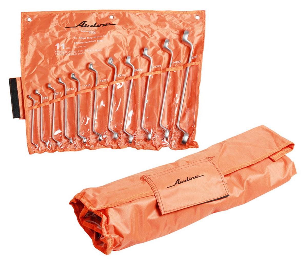 Набор ключей накидных Airline, в мягкой сумке, 6 мм - 32 мм, 11 штAT-11-13Набор накидных ключей Airline необходим каждому автомобилисту для проведения разноплановых ремонтных работ. В комплекте представлено 11 ключей с различными размерными характеристиками. Все инструменты изготовлены из инструментальной ванадиевой стали. Для удобной транспортировки набора предусмотрена специальная сумка с отдельными кармашками для каждого инструмента.Долговечные, эргономичные, крепко слаженные инструменты Airline подойдут любому - от требовательного мастера до высококлассного специалиста. Состав набора: ключ накидной 6х7, 8х9, 10х11, 12х13, 14х15, 16х17, 18х19, 20х22, 21х23, 24х27, 30х32 мм