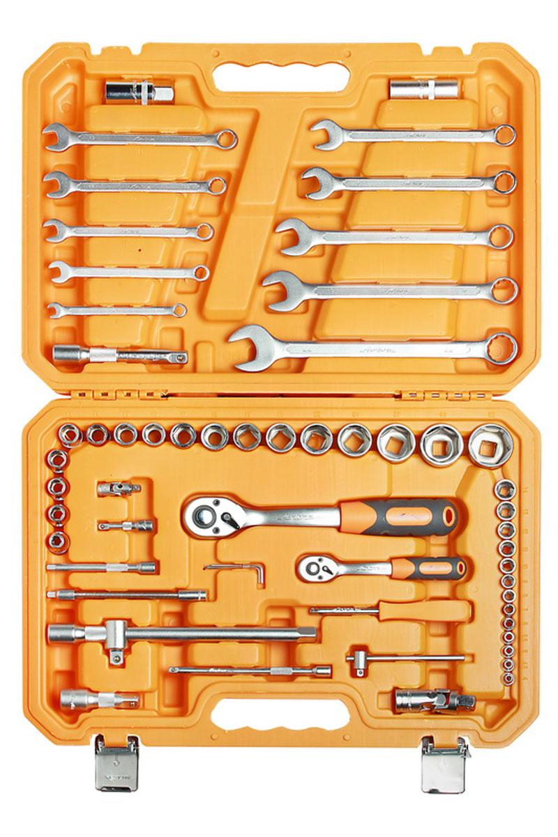 Набор инструментов Airline, универсальный, в пластиковом кейсе, 59 предметовAT-59-06Набор инструментов Airline имеет в составе 59 изделий, необходимых для ремонта различного уровня сложности, а также кейс, выполненный из высокопрочного пластика, для хранения инструментов. Каждый инструмент выполнен из высококачественной, легированной стали на современном автоматизированном производстве. Проходит несколько стадий контроля. Это гарантирует стабильность высокого качества и характеристик инструмента. Долговечные, эргономичные, крепко слаженные инструменты Airline подойдут любому - от требовательного мастера до высококлассного специалиста.Состав набора: 1/4 дюйма Головка торцевая 6 г 4, 4.5, 5, 5.5, 6, 7, 8, 9, 10, 11, 12, 13, 14 Трещоточная рукоятка 1/4 дюйма, 72 зуба Вороток Т-образный 1/4 дюйма Отвёрточная рукоятка 1/4 дюйма - 1/4 дюйма Удлинитель 50 мм, 100 мм, 150 мм Карданный шарнир 1/4 дюйма Удлинитель гибкий 145 мм Г-образный шестигранный ключ 1.5 мм, 2 мм, 2.5 мм 1/2 дюйма Головка торцевая 6 г 8, 10, 11, 12, 13, 14, 15, 16, 17, 18, 19, 21, 22, 24, 27, 30, 32 Головка свечная 16 мм, 21 мм Трещёточная рукоятка 1/2 дюйма, 72 зуба Удлинитель 75 мм, 125 мм, 250 мм Адаптор для Т-образного воротка 1/2 дюйма Карданный шарнир 1/4 дюйма Ключ комбинированный 8, 10, 11, 12, 13, 14, 15, 17, 19, 22 мм