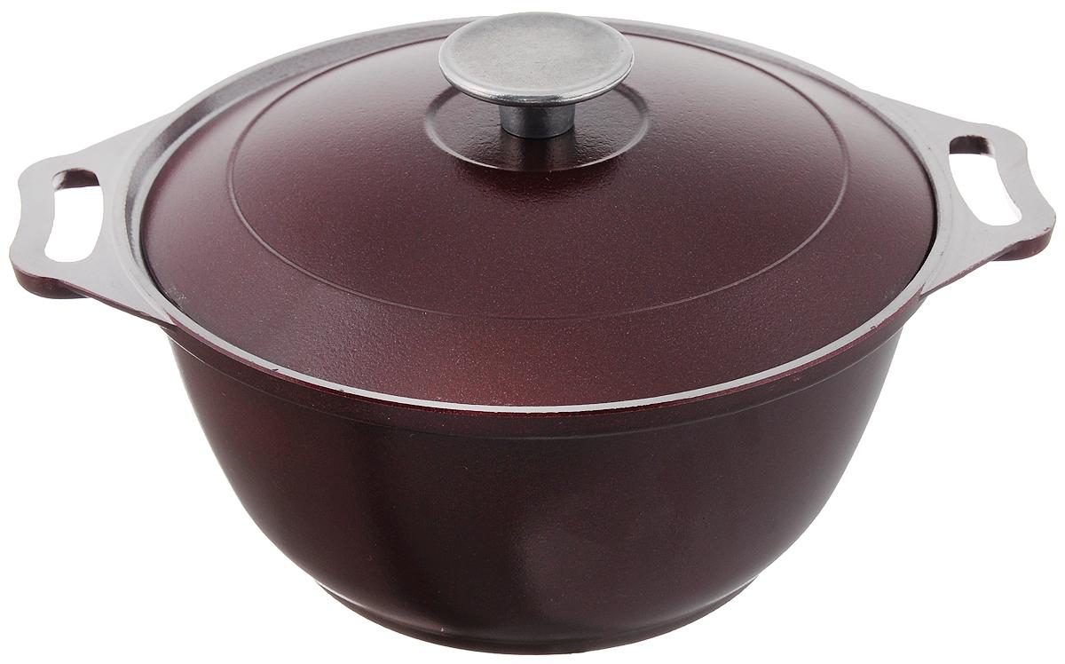"""Кастрюля """"Биол"""" с крышкой, цвет: бордовый, серебристый, 2,5 л"""