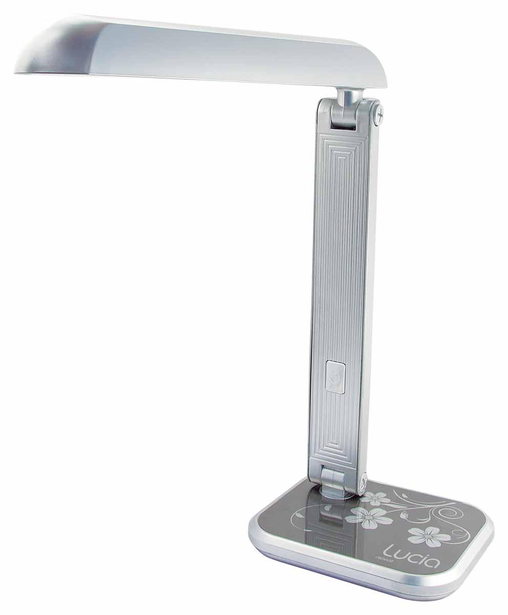 Настольная лампа Лючия Кватро, цвет: серый, 11 WЛЮЧИЯ 471серебристаяЛампа настольная Лючия 471 Кватро 11W G23 серебристая.Назначение: для местного освещения рабочего места.Количество ламп - 1.Лампа в комплекте: да.Тип патрона: G23.Мощность лампы: 11W. Аналог лампы накаливания мощностью 60 ВаттСвет: яркий, холодный белый 4500-5000K.Тип лампы: люминесцентная, энергосберегающая.Напряжение: 220 Вольт.Стиль: хай-тек.Диммер: нет.Цвет арматуры: серебро.Высота светильника: 400 мм.Страна изготовитель: Китай.