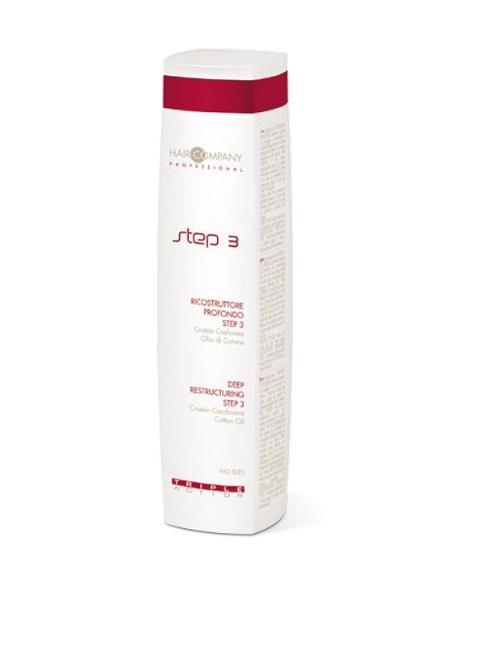 Hair Company Глубокое восстановление шаг 3 Triple Action Deep Restructuring Step 3 250 мл253790/LB11947 RUSЗавершающий этап процедуры глубокого восстановления волос Hair Company Triple Action Step 3 deep restructuring разглаживает и защищает поверхность волос (кутикулу). Благодары кондиционирующему эффекту волосы будут легко расчесываться, а тонкая пленка на поверхности защитит их при укладке.Содержит белок кашемира (Protein Cashemire) — комплекс аминокислот, обладающий сильным увлажняющим действием, который проникает в волосяную луковицу, восстанавливает и кондиционирует волосы и хлопковое масло (Cotton oil) — питает волосы, делает их мягкими, струящимися и шелковистыми.Третий шаг выглаживает внешнюю часть волос, закрывает чешуйки легкой пленкой, делает поверхность ровной, придает волосам красивый блеск.