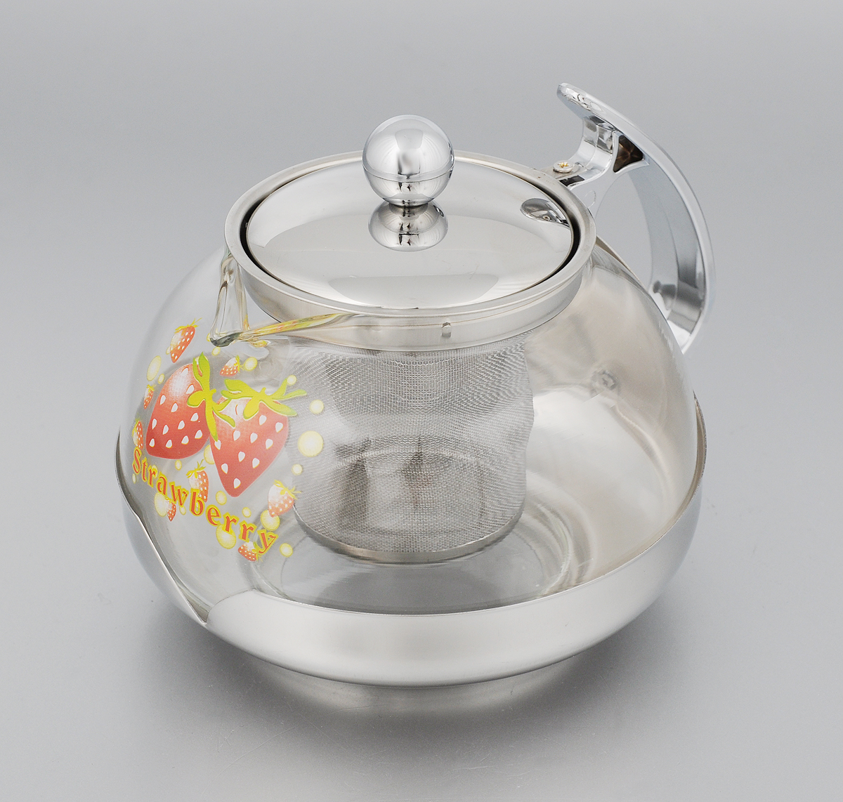 Чайник заварочный Mayer & Boch Клубника, с фильтром, 700 мл2023_клубникаИзящный и современный стиль чайника Mayer & Boch Клубника прекрасноподчеркнет декор любойкухни. Стеклянный корпус и съемный фильтр из нержавеющей стали позволяютбыстро и легкоочистить чайник. Может быть использован для подачи как горячих, так ихолодных напитков.Простой и удобный чайник Mayer & Boch Клубника послужит великолепнымподарком для любителейчая. Диаметр чайника (по верхнему краю): 8 см. Высота чайника (без учета крышки): 9,5 см. Высота фильтра: 6 см.
