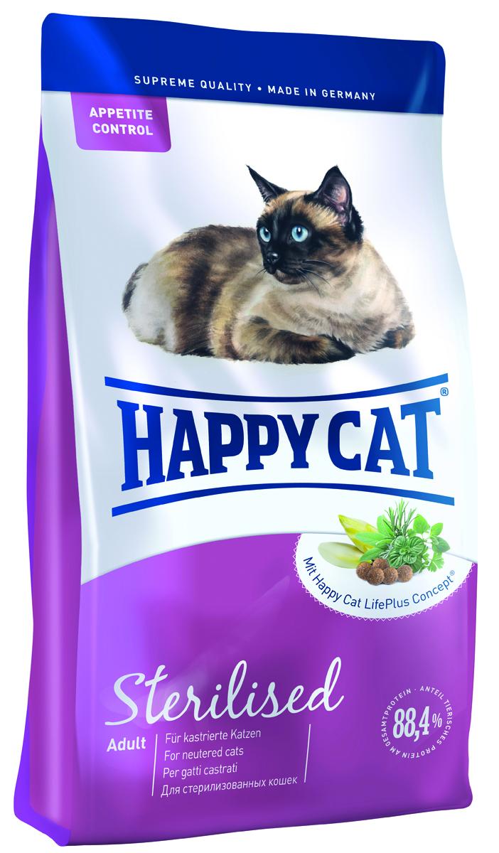 Happy Cat Adult Sterilised, для кастрированный и стерилизованных кошек ,4 кг70079Кастрированные коты наиболее подвержены набору лишнего веса и заболеваниям мочеполовых путей. Поэтому им необходим полноценный, сбалансированный по белкам и жирам корм, богатый балластными веществами и оптимальным балансом минеральных веществ для поддержания здоровья мочевыделительной системы и естественной защиты организма. В корме Happy Cat Sterilised всего 10,5% жира, 37% ценного белка из мяса лосося и птицы, не создающего нагрузку на организм кота, а также большое количество таурина (1500 мг/кг).