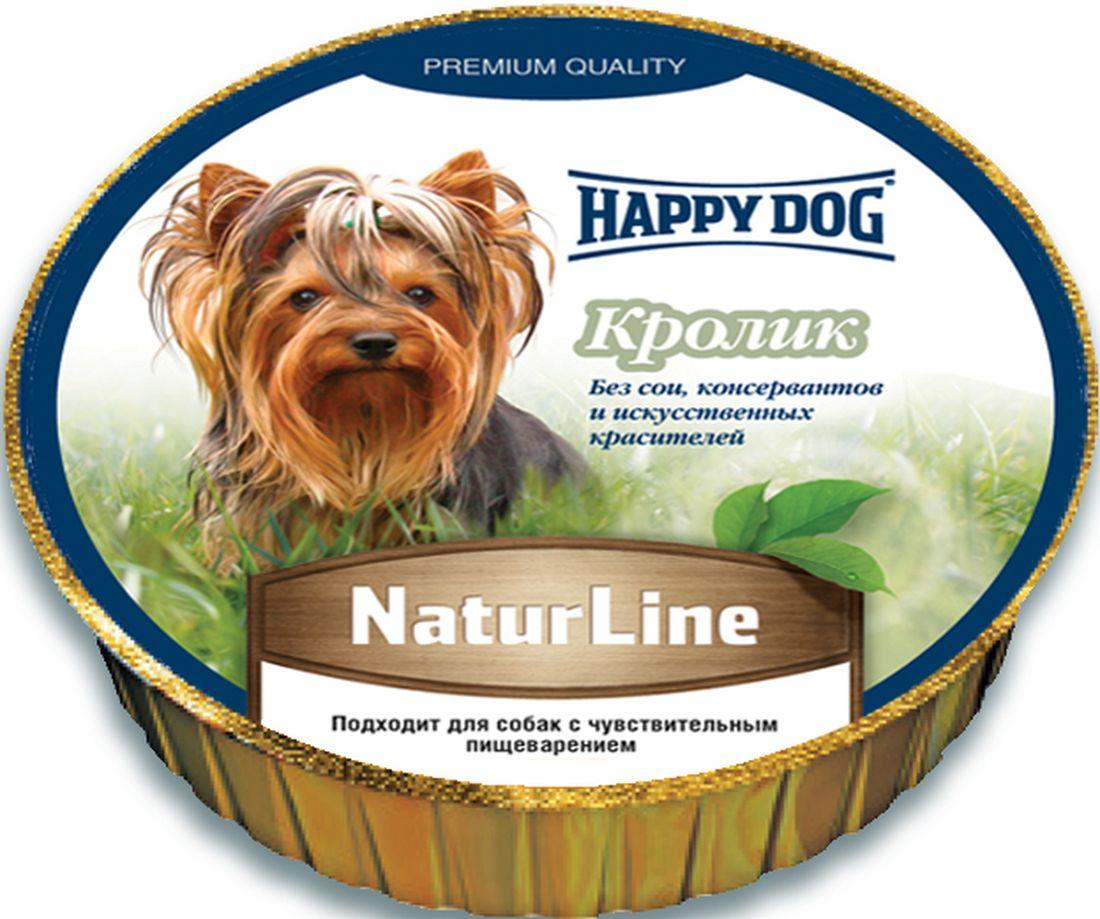 Консервы для собак Happy Dog Natur, паштет с кроликом, 125 г71502Консервы для собак Happy Dog Natur - сбалансированный натуральный корм, прекрасно зарекомендовавший себя для кормления собак с чувствительным пищеварением. Изготовлен из высоко качественного и легкого мяса кролика с добавлением витаминно-минерального комплекса. Не содержит сои, искусственных красителей, консервантов и ГМО.Состав: мясо кролика, печень, витаминно-минеральная смесь, мясо птицы, растительное масло, вода.Питательные вещества: протеин 11%, жиры 4,5%, клетчатка 0,5%, влажность 80%.Товар сертифицирован.Расстройства пищеварения у собак: кто виноват и что делать. Статья OZON Гид