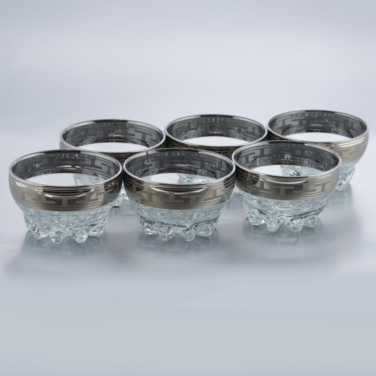Набор креманок Гусь-Хрустальный Греческий узор, диаметр 10 см, 6 штGE01-3258Набор Гусь-Хрустальный Греческий узор состоит из 6 креманок, изготовленных из высококачественного натрий-кальций-силикатного стекла. Изделия оформлены красивым зеркальным покрытием и широкой окантовкой с оригинальным узором. Креманки прекрасно подойдут для подачи десертов и мороженого. Такой набор прекрасно дополнит праздничный стол и станет желанным подарком в любом доме. Разрешается мыть в посудомоечной машине. Диаметр креманки (по верхнему краю): 10 см. Высота креманки: 6 см.