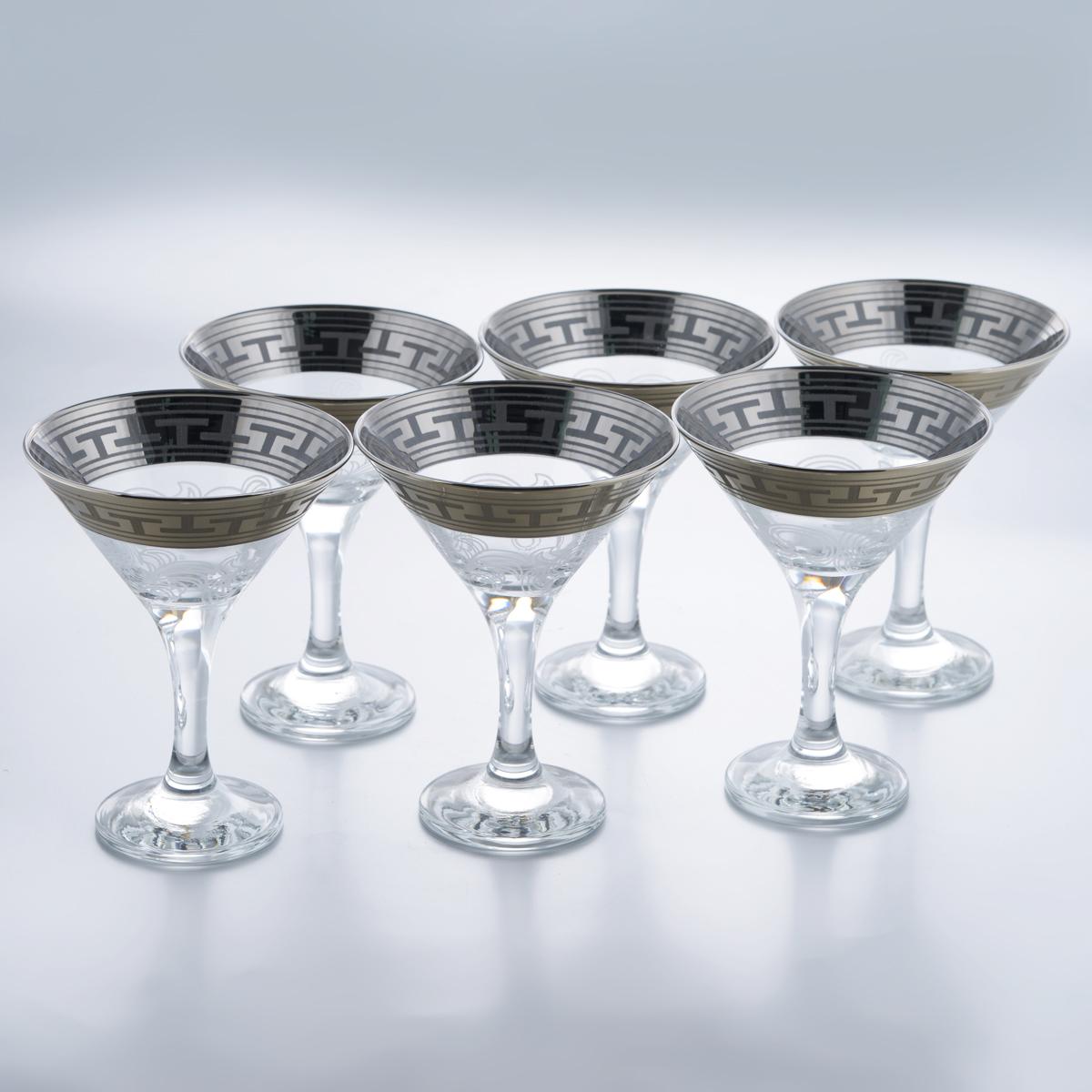 Набор бокалов для мартини Гусь-Хрустальный Греческий узор, 170 мл, 6 шт набор бокалов для бренди гусь хрустальный версаче 400 мл 6 шт