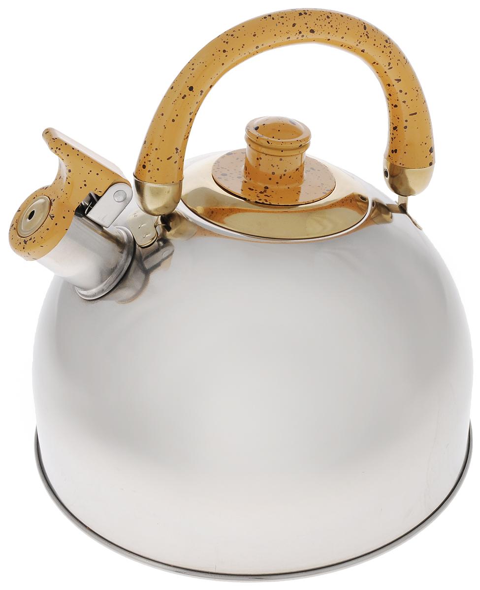 Чайник Mayer & Boch, со свистком, цвет: бежевый, серебристый, 5,5 л. 2044020440_бежевый, серебристыйЧайник Mayer & Boch выполнен из высококачественной нержавеющей стали, что делает его весьма гигиеничным и устойчивым к износу при длительном использовании. Капсулированное дно с прослойкой из алюминия обеспечивает наилучшее распределение тепла. Носик чайника оснащен насадкой-свистком, что позволит вам контролировать процесс подогрева или кипячения воды. Подвижная ручка, изготовленная из бакелита, делает использование чайника очень удобным и безопасным. Поверхность чайника гладкая, что облегчает уход за ним. Эстетичный и функциональный, с эксклюзивным дизайном, чайник будет оригинально смотреться в любом интерьере.Подходит для газовых, электрических, стеклокерамических и галогеновых плит. Можно мыть в посудомоечной машине.Высота чайника (без учета ручки и крышки): 13,5 см.Высота чайника (с учетом ручки и крышки): 24,5 см.Диаметр чайника (по верхнему краю): 9 см.