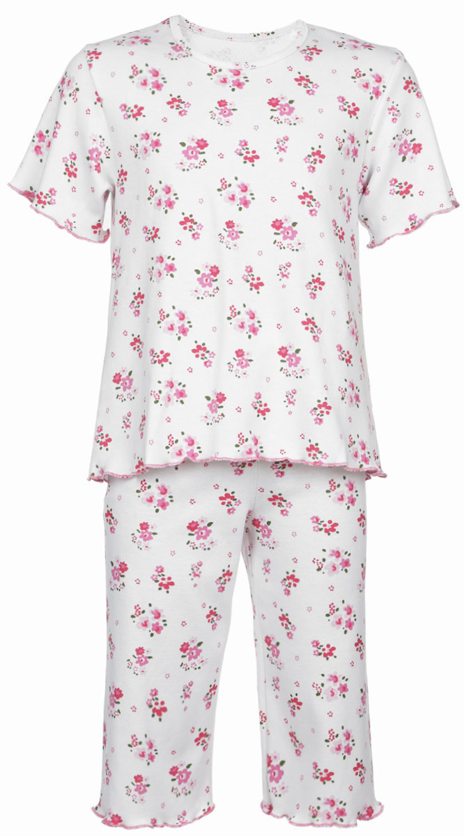 Пижама для девочки Трон-плюс, цвет: белый, розовый, зеленый. 5581_ОЗ14_цветы. Размер 80/86, 1-2 года5581_ОЗ14_цветыОчаровательная пижама для девочки Трон-плюс, состоящая из футболки и удлиненных шорт, идеально подойдет ребенку для отдыха и сна. Модель выполнена из натурального хлопка, мягкая и приятная к телу, не сковывает движения, хорошо пропускает воздух и не раздражает нежную и чувствительную кожу ребенка. Футболка с короткими рукавами имеет круглый вырез горловины, оформленный бейкой. Удлиненные шорты на талии дополнены мягкой эластичной резинкой, благодаря чему они не сдавливают животик ребенка и не сползают. Пижама оформлена цветочным принтом по всей поверхности. Рукава, низ футболки и низ шорт имеют волнистые края, обработанные декоративным швом. В такой пижаме ваша маленькая принцесса будет чувствовать себя комфортно и уютно.