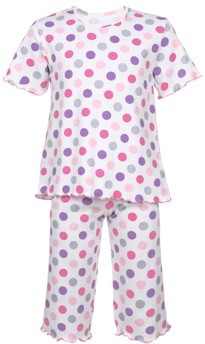 Пижама для девочки Трон-плюс, цвет: белый, розовый, фиолетовый. 5581_ВЛ15_горох. Размер 122/128, 7-10 лет5581_ВЛ15_горохОчаровательная пижама для девочки Трон-плюс, состоящая из футболки и удлиненных шорт, идеально подойдет ребенку для отдыха и сна. Модель выполнена из натурального хлопка, мягкая и приятная к телу, не сковывает движения, хорошо пропускает воздух и не раздражает нежную и чувствительную кожу ребенка. Футболка с короткими рукавами имеет круглый вырез горловины, оформленный бейкой. Удлиненные шорты на талии дополнены мягкой эластичной резинкой, благодаря чему они не сдавливают животик ребенка и не сползают. Пижама оформлена принтом в горох по всей поверхности. Рукава, низ футболки и низ шорт имеют волнистые края, обработанные декоративным швом. В такой пижаме ваша маленькая принцесса будет чувствовать себя комфортно и уютно.