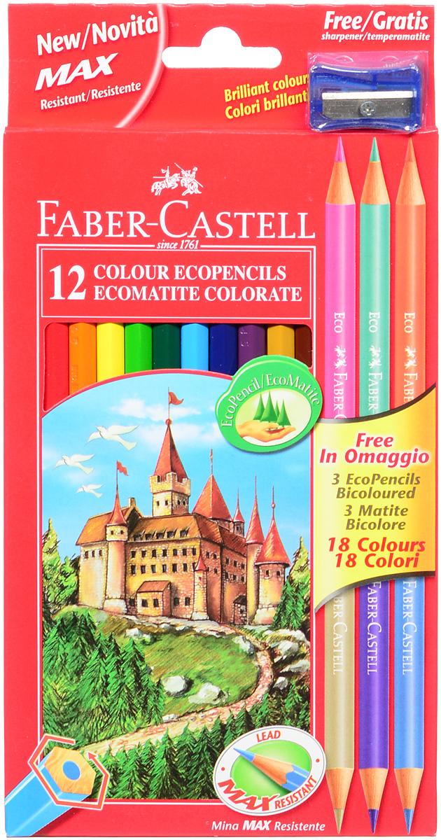 Faber-Castell Набор цветных карандашей Eco 18 цветов с точилкой цвет точилки синий111215_синяя точилкаВ наборе Faber-Castell 12 цветных шестигранных карандашей, не требующих сильного нажатия. Карандаши обладают яркими цветами, безопасны при использовании по назначению, легко затачиваются, изготовлены из высококачественной древесины, имеют прочный грифель.Набор дополнен тремя круглыми карандашами, каждый из которых имеет по два цвета. Набор карандашей откроет юным художникам новые горизонты для творчества, поможет отлично развить мелкую моторику рук, цветовое восприятие, фантазию и воображение.Корпус изготовлен из натуральной древесины, гладкость которой обеспечена многослойной покраской. Карандаши удобно держать в руках, а мягкий грифель не требует сильного нажима и легко стирается ластиком.Вместе с карандашами в наборе имеется точилка синего цвета из прочного пластика с рифленой областью захвата. Острое стальное лезвие обеспечивает высококачественную и точную заточку деревянных карандашей. В комплект входит 15 цветных карандашей, точилка.