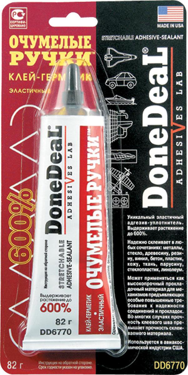 Клей-герметик Done Deal Очумелые ручки, эластичный, 82 г. DD 6770DD 6770Водостойкий полиуретановый клей-герметик Done Deal Очумелые ручки формирует суперэластичный (выдерживающий 600% растяжение) уплотняющий слой с высокой адгезией к большинству полимерных материалов: поливинилхлориду (ПВХ, винилу, линолеуму), полиуретану, полиметилметакрилату (оргстеклу) и другим, также пригодон для герметизации и склеивания резиновых, тканых (включая парусину), керамических, кожаных, шероховатых металлических, деревянных и других поверхностей.Обладает хорошей термостойкостью сохраняет эксплуатационные свойства при температурах до 105С. Уплотняет и герметизирует торцевые соединения отделочных пластиковых панелей, линолеума и кафельных плиток. Пригоден для последующей окраски.Герметизирует соединения водопроводных и канализационных систем, вентили и т. д. Пригоден для ремонт обуви.Эластичность клея-герметика позволяет использовать его для работы с материалами, испытывающими деформационные нагрузки. Имеет сотни применений в хозяйстве, автомобиле и хобби. Прочность слоя герметика при растяжении достигает 390 кг/см.Является незаменимым средством для ремонта автомобиля, дома, квартиры, дачи, служебного помещения, бытовой и водомоторной техники, обуви и спортивного инвентаря, систем водоснабжения и канализации, домашней утвари и т. п.