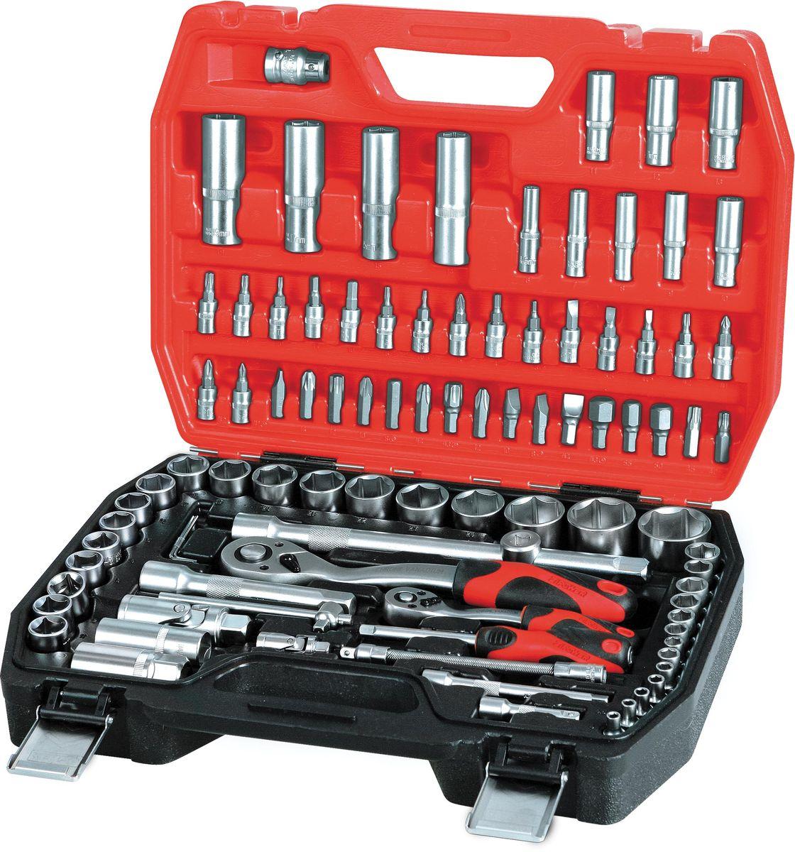 Набор инструментов Zipower, 94 предмета. PM 4113PM 4113Базовый набор основных торцевых головок с битами. В комплекте: шестигранные торцевые головки, удлинители, адаптер-переходник, шарниры, биты, переходник, рукоятка, скользящая Т-образная рукоятка, трещотка.Тщательно подобранный ассортимент инструмента удовлетворит запросы и начинающего автовладельца, и профессионального механика.Применение специальной технологии закалки и термической обработки хромованадиевой стали гарантирует высокую прочность инструмента, его износоустойчивость при интенсивном использовании.Двухкомпонентные рукоятки обеспечивают комфорт во время выполнения работ.Количество предметов: 94 шт.Материал инструмента: Cr-V