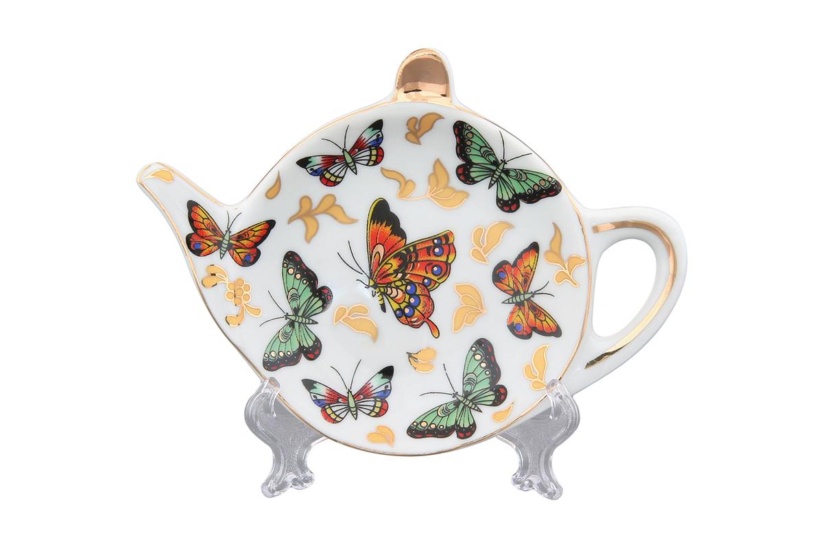 Подставка под чайный пакетик Elan Gallery Бабочки180209Подставка для чайных пакетиков, выполненная в форме чайничка, изготовлена из высококачественной керамики. Подставка придется по вкусу любой хозяйке, так как кухонный стол всегда останется чистым, без нежелательных разводов от чайных пакетиков.