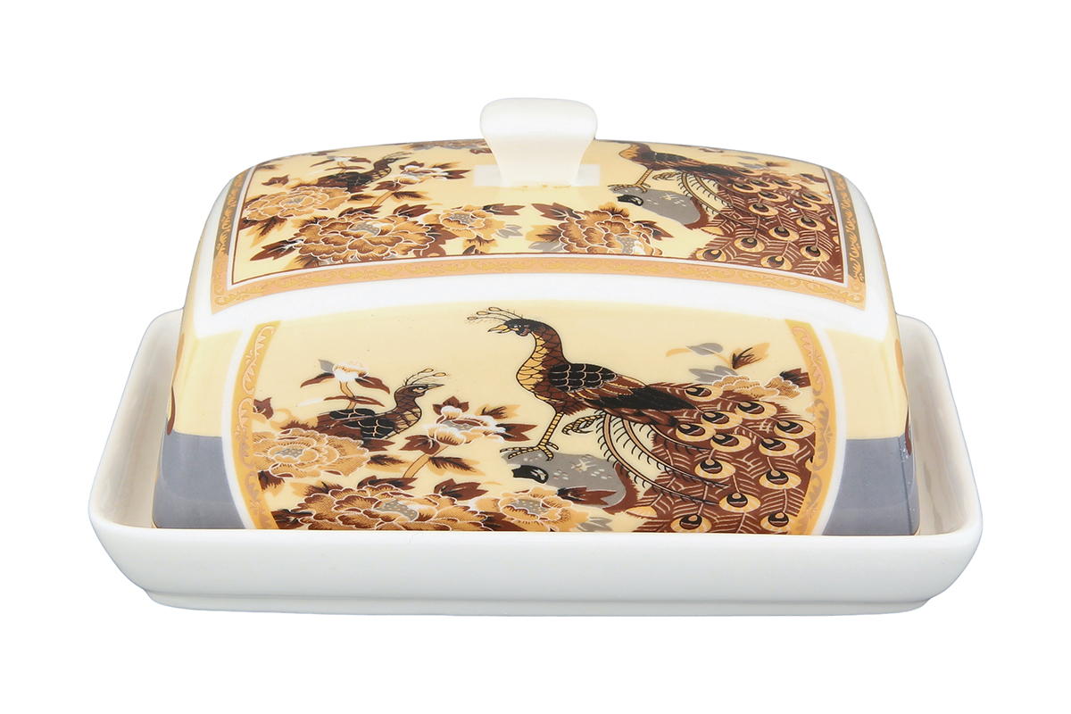 Масленка Elan Gallery Павлин. 180822180822Великолепная масленка , выполненная из высококачественной керамики, предназначена для красивой сервировки и хранения масла.