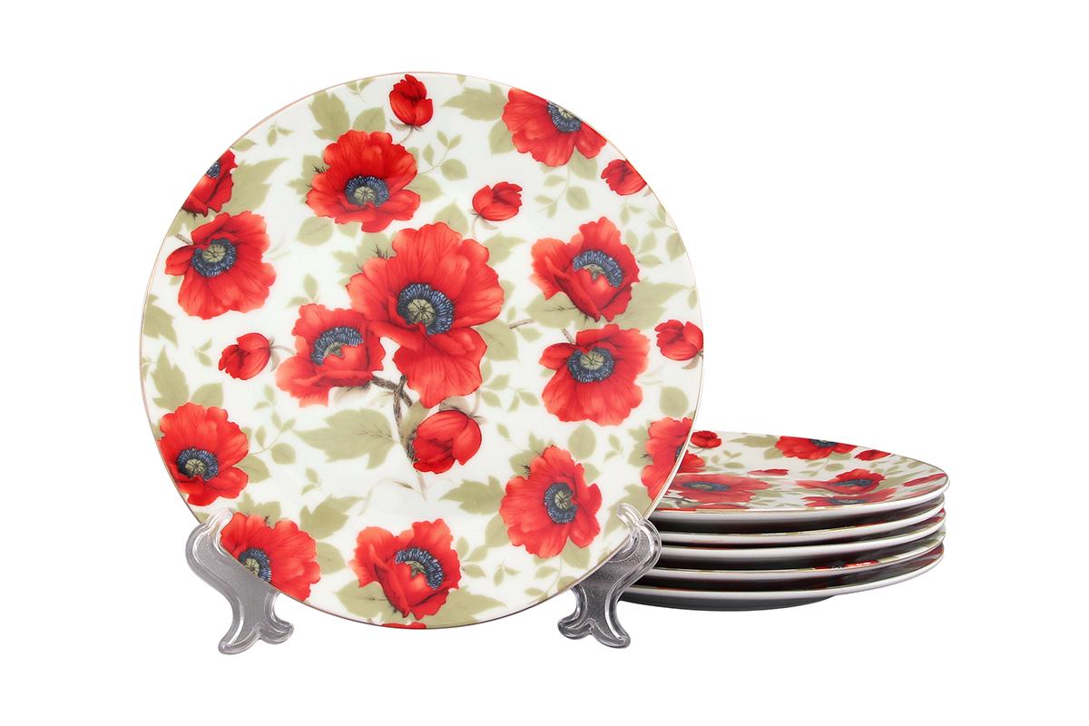 Набор тарелок Elan Gallery Маки, диаметр: 19 см, 6 шт471286Набор, выполненный из высококачественной керамики, состоит из 6 тарелок и предназначен для красивой сервировки различных блюд. Изделия украшены цветочным рисунком. Набор сочетает в себе стильный дизайн с максимальной функциональностью. Диаметр тарелки: 19 см.