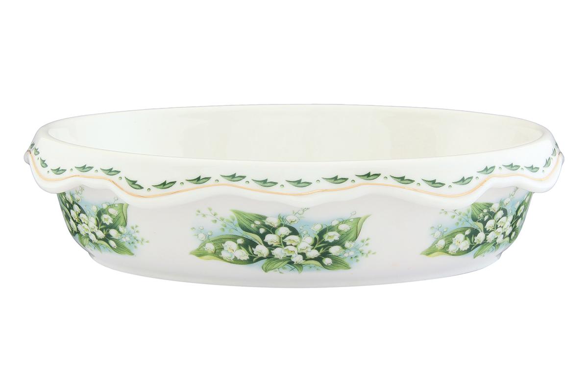 Шубница Elan Gallery Ландыши, 24 х 17 х 6 см503596Шубница Elan Gallery Ландыши, выполненная из высококачественной керамики, идеально подойдет для сервировки традиционного салата Сельдь под шубой или любого другого слоеного салата. Компактное и оригинальное блюдо станет незаменимым при любом застолье. Не рекомендуется применять абразивные моющие средства. Не использовать в микроволновой печи.