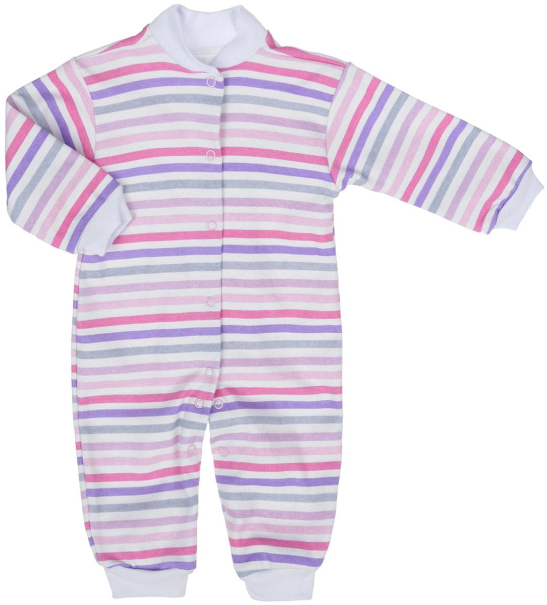 Комбинезон детский Трон-плюс, цвет: белый, розовый, фиолетовый. 5813_ВЛ15_полоски 1. Размер 56, 1 месяц5813_ВЛ15_полоски 1Комбинезон Трон-плюс полностью соответствует особенностям жизни ребенка в ранний период, не стесняя и не ограничивая его в движениях. Выполненный из натурального хлопка, он очень мягкий и приятный на ощупь, не раздражает нежную и чувствительную кожу ребенка, позволяя ей дышать.Комбинезон с небольшим воротником-стойкой, длинными рукавами и открытыми ножками имеет застежки-кнопки от горловины до щиколоток, которые помогают легко переодеть малыша или сменить подгузник. Воротник изготовлен из мягкой трикотажной резинки. Низ рукавов и низ брючин дополнены мягкими эластичными манжетами, не пережимающими ручки и ножки ребенка. Модель оформлена принтом в полоску. В таком комбинезоне спинка ребенка всегда будет в тепле, кроха будет чувствовать себя комфортно и уютно.