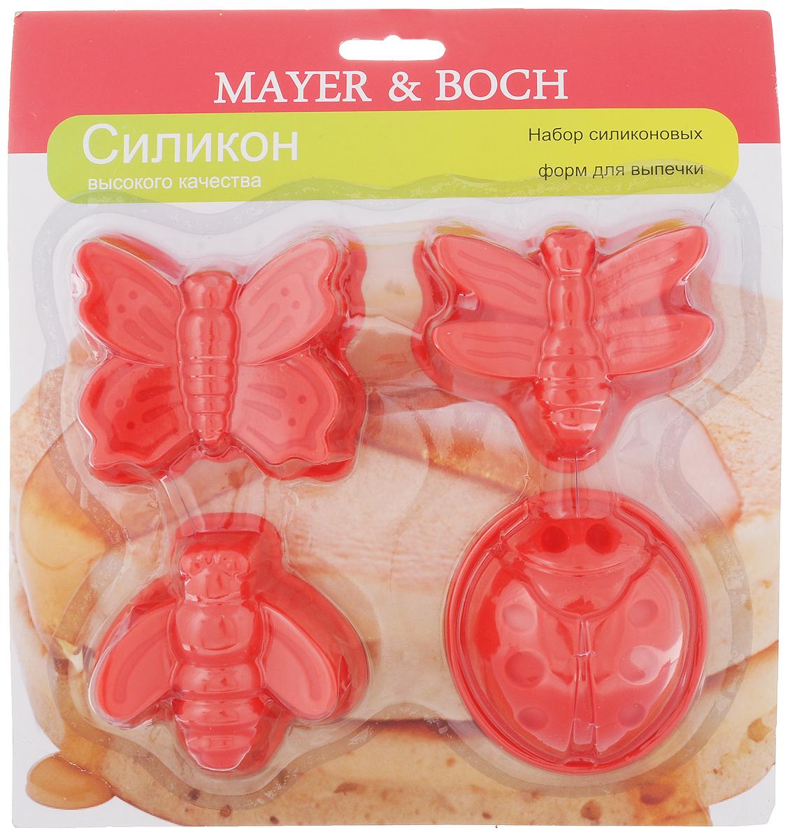 Набор форм для выпечки Mayer & Boch, цвет: красный, 4 шт22079_красныйНабор Mayer & Boch состоит из 4 форм, которые выполнены в виде насекомых. Изделияизготовлены из высококачественного силикона,выдерживающего температуру от -40°C до +210°C. Если вы любите побаловать своих домашних вкусным и ароматным угощением повашему оригинальному рецепту, то формы Mayer & Boch как раз то, что вам нужно!Можно использовать в духовом шкафу и микроволновой печи без использованиярежима гриль.Подходит для морозильной камеры и мытья в посудомоечной машине.Средний размер форм: 7 х 7 х 3 см.