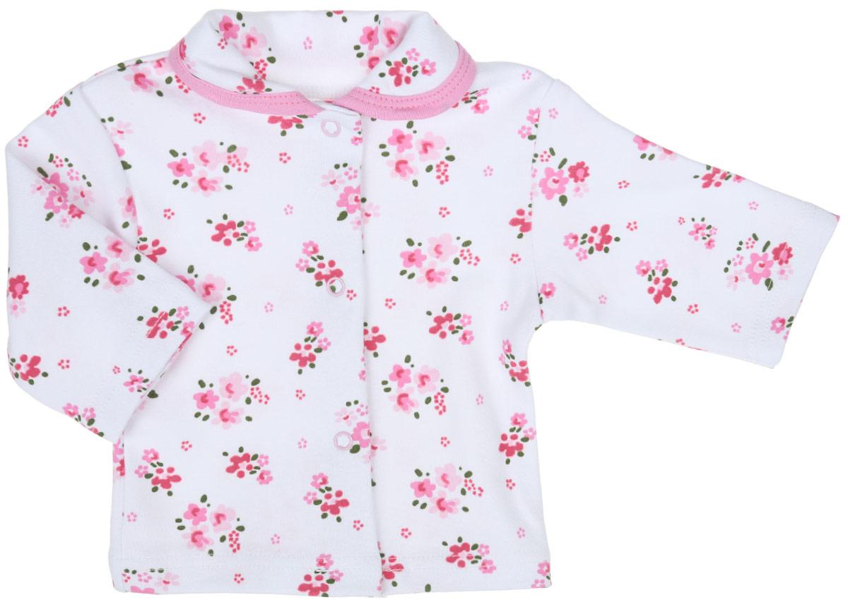 Кофточка для девочки Трон-плюс, цвет: белый, розовый, зеленый. 5165_ОЗ14_цветы. Размер 80, 12 месяцев5165_ОЗ14_цветыКофточка для девочки Трон-плюс, выполненная из натурального хлопка, станет отличным дополнением к детскому гардеробу. Изделие очень мягкое, приятное к телу, не сковывает движения и хорошо вентилируется, обеспечивая комфорт. Кофточка с отложным воротничком и длинными рукавами имеет удобные застежки-кнопки по всей длине, которые помогают легко переодеть кроху. Модель оформлена цветочным принтом. Кофточка полностью соответствует особенностям жизни младенца в ранний период, не стесняя и не ограничивая его в движениях. В ней ваша маленькая принцесса всегда будет в центре внимания!