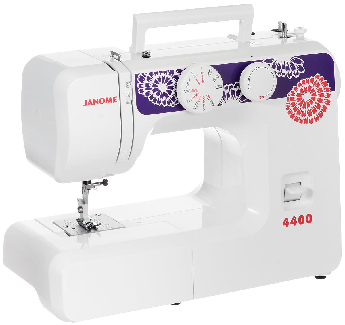 Janome 4400 швейная машинаJanome4400Janome 4400 - это простая высококачественная швейная машина с оригинальным дизайном и 15 операциями. Она легко прошивает тонкие и средние материалы.Данная модель поможет вам в освоении швейных машинок, если вы никогда ими не пользовались.Машина может выполнять большое количество строчек: оверлочную, потайную, эластичную, эластичную потайную. Максимальная скорость с которой может работать Janome 4400 - 600 ст/мин.Закрепить строчку можно будет с помощью кнопки реверса: при включении этого режима шитье пойдет в обратном направлении. Также машина может измерять размер пуговиц и шить двойной иглой.