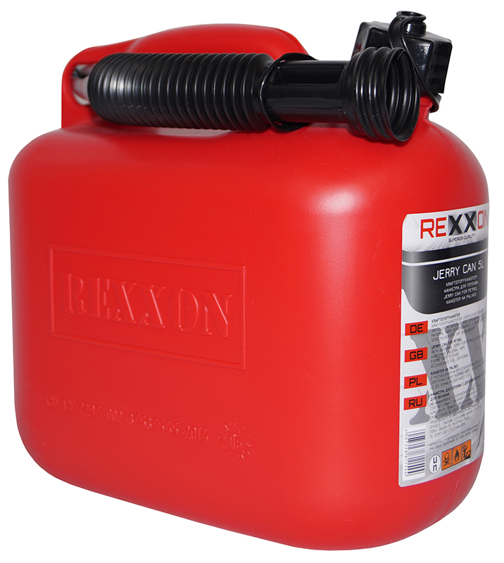 "Канистра ""Rexxon"" - пластиковая канистра для топлива, вмещающая 5 л, имеет гибкий съемный шланг для удобства наливания. Шланг закреплен на канистре."