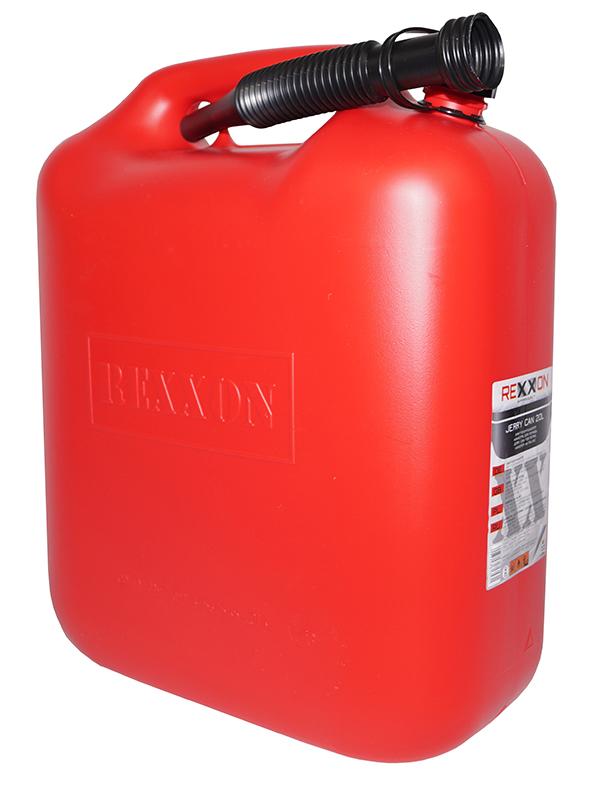Канистра Rexxon, для топлива, с гибким шлангом, 20 л1-01-3-1-0Пластиковая канистра для топлива, вмещающая 20 л, имеет гибкий съемный шланг для удобства наливания. Шланг закреплен на канистре.