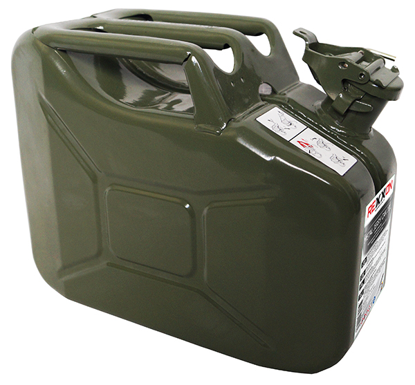 Канистра Rexxon, с разрешением для бензина, металлическая, 10 л434610Канистра Rexxon, выполненная из металла, рассчитана на 10 литров топлива. Канистра имеет разрешение для бензина.