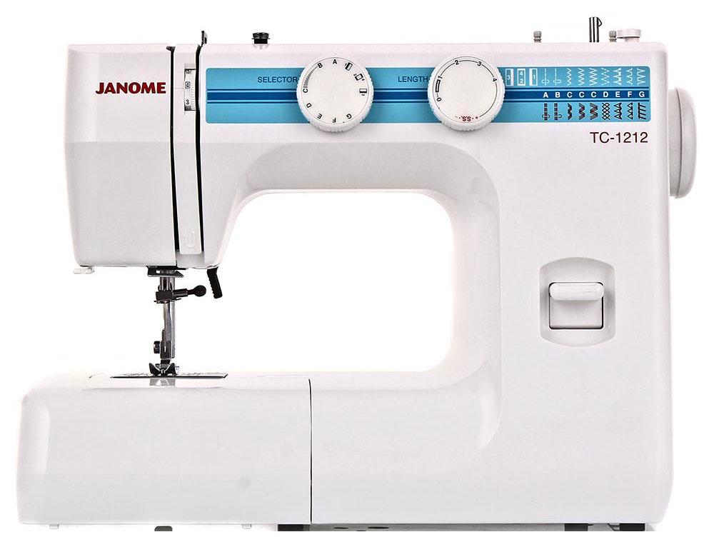 Janome TC-1212 швейная машинаTC1212Janome TC 1212 - швейная машина для шитья и ремонта одежды. Она оборудована надежным вертикальным качающимся челноком, применяемым в бытовых швейных машинах уже многие десятилетия. Модель позволяет выметывать прямые бельевые петли за 4 шага без поворота ткани - после выполнения каждой стороны петли нужно переключить программу на следующую сторону. Контроль длины производится по разметке на петельной лапке.Швейная машина оборудована регулятором давления лапки на ткань, что позволяет отрегулировать усилие прижима для получения качественной строчки, с заданной длиной стежка и отсутствием смещения слоев материала относительно друг друга. Кроме того в машинке предусмотрена возможность шитья двойной иглой.Среди строчек, которые доступны в данной модели, имеется зигзаг с разной плотностью стежков, эластичная, оверлочная, потайная подгибка, стрейчевая для трикотажа, а также несколько декоративных строчек (фестон, соты). Кроме того, машинка выполняет усиленную (тройную) прямую строчку, по виду напоминающую цепочку. Ее часто используют в шаговых швах, проймах, в рюкзаках, то есть там, где нужны сверхпрочные швы.Данная модель укомплектована тремя лапками: для втачивания молнии, выметывания петли и потайной подгибки. Установить желаемую строчку можно с помощью поворота колеса, расположенного на корпусе машинки.Благодаря опции отключения нижнего транспортера ткани можно штопать или вышивать в свободной технике. Кнопка реверса обеспечивает легкое управление с громоздкими вещами и позволяет делать закрепки коротким двойным нажатием.Конструкция швейной машинки позволяет снять часть столика, образуя удобную рукавную платформу, на которой комфортно обрабатывать манжеты, штанины и другие трубчатые детали одежды. В пенале под крышкой столика предусмотрен удобный отсек для хранений дополнительных принадлежностей.Благодаря встроенной подсветке рабочей области можно комфортно работать даже в условиях слабой освещенности.