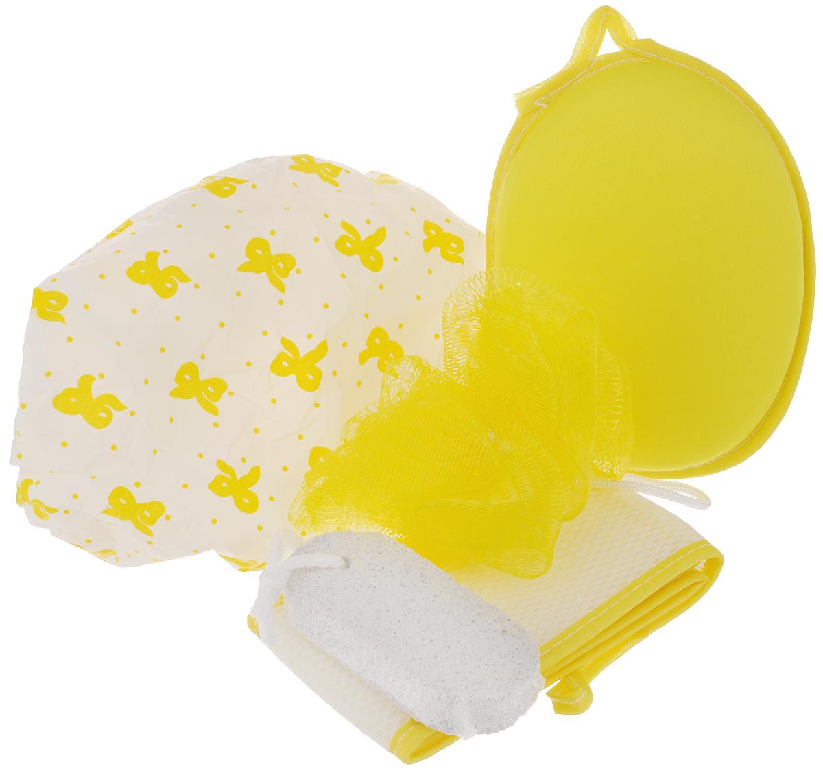 Набор банный Дом и все, что в нем, цвет: желтый, белый, 5 предметов820-862_желтыйБанный набор Дом и все, что в нем, изготовленный из полимерных материалов, состоит из трех мочалок, шапочки для душа и пемзы. Мочалки предназначены для мягкого очищения кожи. Прекрасно взбивают мыло и гель для душа, дают обильную пену, обладают легким массажным воздействием, идеально подходят для нежной и чувствительной кожи. Пемза эффективно удалит огрубевшую, сухую кожу ступней и локтей, делая их мягкими и гладкими. Шапочка защитит волосы от намокания во время принятия душа.Диаметр основания шапочки: 27 см.Высота шапочки: 19 см.Диаметр мочалки-помпона: 9 см.Длина мочалки с ручками: 56 см.Размер мочалки-овала: 15 см х 12 см х 3 см.Размер пемзы: 9,5 см х 4,5 см х 1,5 см.