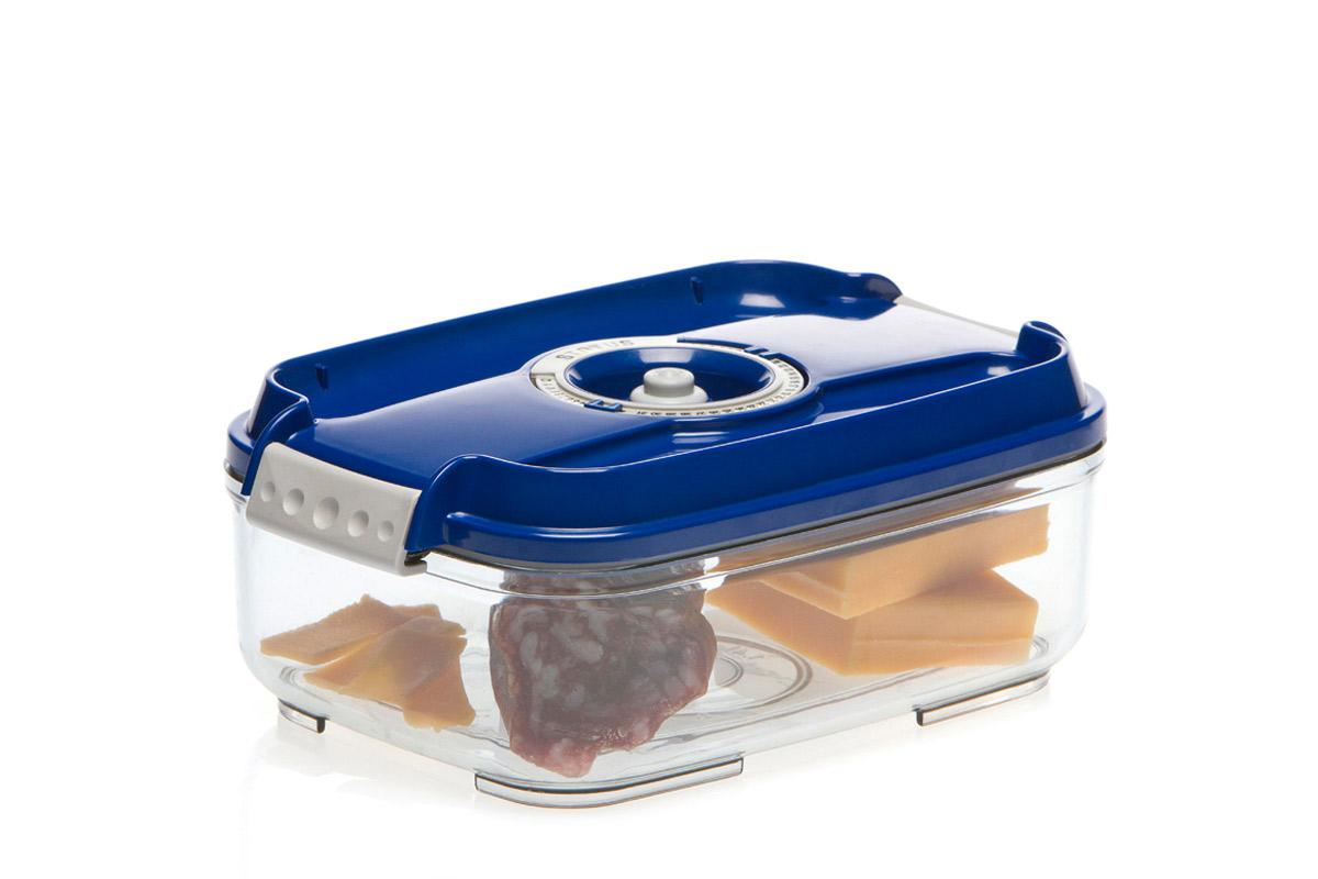 Контейнер вакуумный Status, цвет: прозрачный, синий, 1,4 лVAC-REC-14 BlueВакуумный контейнер Status рекомендован для хранения следующих продуктов: фрукты, овощи, хлеб, колбасы, сыры, сладости, соусы, супы.Благодаря использованию вакуумных контейнеров, продукты не подвергаются внешнему воздействию и срок хранения значительно увеличивается. Продукты сохраняют свои вкусовые качества и аромат, а запахи в холодильнике не перемешиваются.Контейнер изготовлен из прочного хрустально-прозрачного тритана. На крышке - индикатор даты (месяц, число).Допускается замораживание (до -21 °C), мойка контейнера в посудомоечной машине, разогрев в СВЧ (без крышки).Объем контейнера: 1,4 л.Размер: 22,5 х 15,5 х 8,5 см.