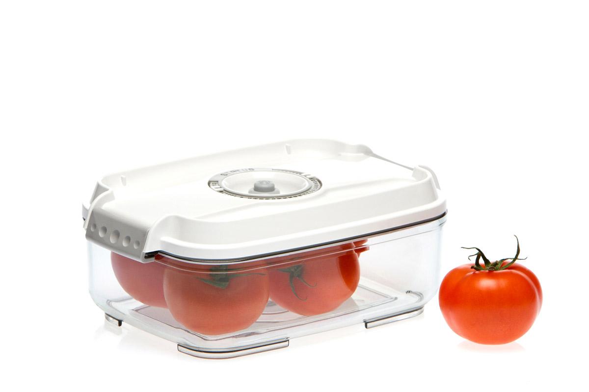 Контейнер вакуумный Status, цвет: прозрачный, белый, 1,4 лVAC-REC-14 WhiteВакуумный контейнер Status рекомендован для хранения следующих продуктов: колбасы, сыры, свежее мясо, яйца, фрукты и овощи.Благодаря использованию вакуумных контейнеров, продукты не подвергаются внешнему воздействию и срок хранения значительно увеличивается. Продукты сохраняют свои вкусовые качества и аромат, а запахи в холодильнике не перемешиваются.Контейнер изготовлен из прочного хрустально-прозрачного тритана. На крышке - индикатор даты (месяц, число).Допускается замораживание (до -21 °C), мойка контейнера в посудомоечной машине, разогрев в СВЧ (без крышки).Объем контейнера: 1,4 л.Размер: 22,5 х 15,5 х 8,5 см.