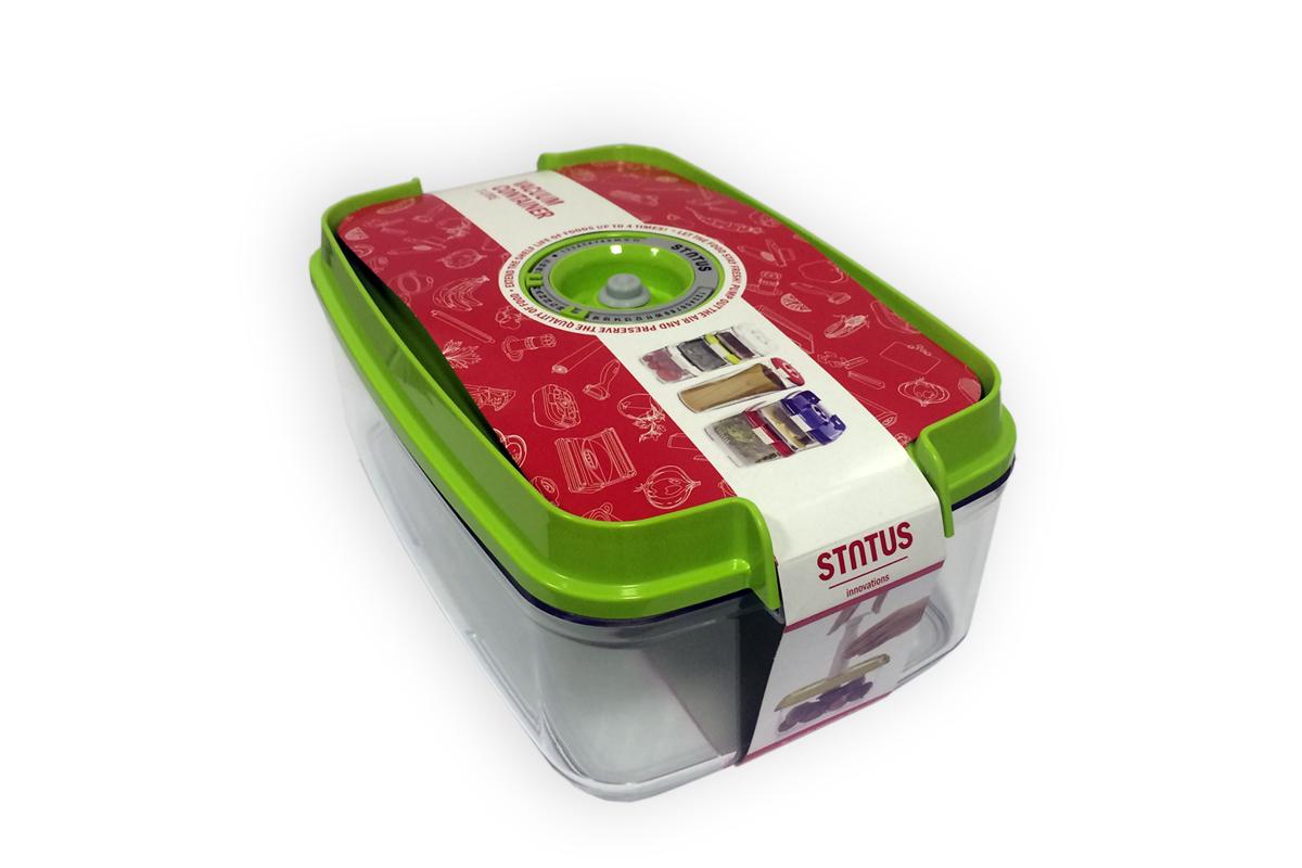 Контейнер вакуумный Status, цвет: прозрачный, зеленый, 3 л. VAC-REC-30VAC-REC-30 GreenБлагодаря использованию вакуумных контейнеров, продукты не подвергаются внешнему воздействию, и срок хранения значительно увеличивается. Продукты сохраняют свои вкусовые качества и аромат, а запахи в холодильнике не перемешиваются.Контейнер для хранения продуктов в вакуумеПрочный хрустально-прозрачный тританПрямоугольная формаОбъем 3,0 литраИндикатор даты (месяц, число)BPA-FreeРазмер: 29,5 x 18,5 x 11,5 смСделано в СловенииДопускается замораживание (до -21 °C), мойка контейнера в посудомоечной машине, разогрев в СВЧ (без крышки).Рекомендовано хранение следующих продуктов: фрукты, овощи, хлеб, колбасы, сыры, соусы, супы.Вакуумный контейнер объёмом 3,0 л может устойчиво храниться сверху на вакуумном контейнере 4,5 л.