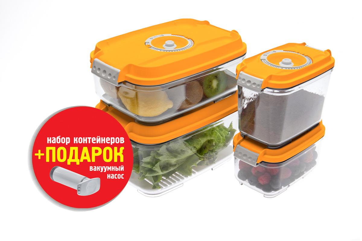 Набор вакуумных контейнеров Status, цвет: прозрачный, оранжевый, 4 штVAC-REC-Smaller OrangeНабор вакуумных контейнеров Status рекомендован для хранения следующих продуктов: фрукты, овощи, хлеб, колбасы, сыры, сладости, соусы, супы.Благодаря использованию вакуумных контейнеров, продукты не подвергаются внешнему воздействию и срок хранения значительно увеличивается. Продукты сохраняют свои вкусовые качества и аромат, а запахи в холодильнике не перемешиваются.Контейнеры изготовлены из прочного хрустально-прозрачного тритана. На крышке - индикатор даты (месяц, число).Допускается замораживание (до -21 °C), мойка контейнера в посудомоечной машине, разогрев в СВЧ (без крышки).Объем контейнеров: 0,5; 0,8; 1,4; 2,0 л.