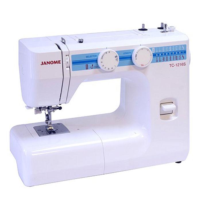 Janome TC 1216 S швейная машинаTC1216SJanome TC 1216 S - швейная машина для шитья и ремонта одежды. Она оборудована надежным вертикальным качающимся челноком, применяемым в бытовых швейных машинах уже многие десятилетия.Данная модель очень проста в управлении. Хорошо работает с разными видами тканей - легкими, средними, тяжелыми и сверхтяжелыми. Одно из самых важных достоинств – плавная регулировка длины стежка и ширины зигзага, что обеспечивает практичность и простоту осуществления настроек.Автоматическое выметывание петель позволит вам быстро и качественно выполнить петли различной длины. Рукавная платформа служит для удобства обработки манжет, низа брюк и других трубчатых изделий. При шитье двойной иглой на швейную машину устанавливается вторая катушка.