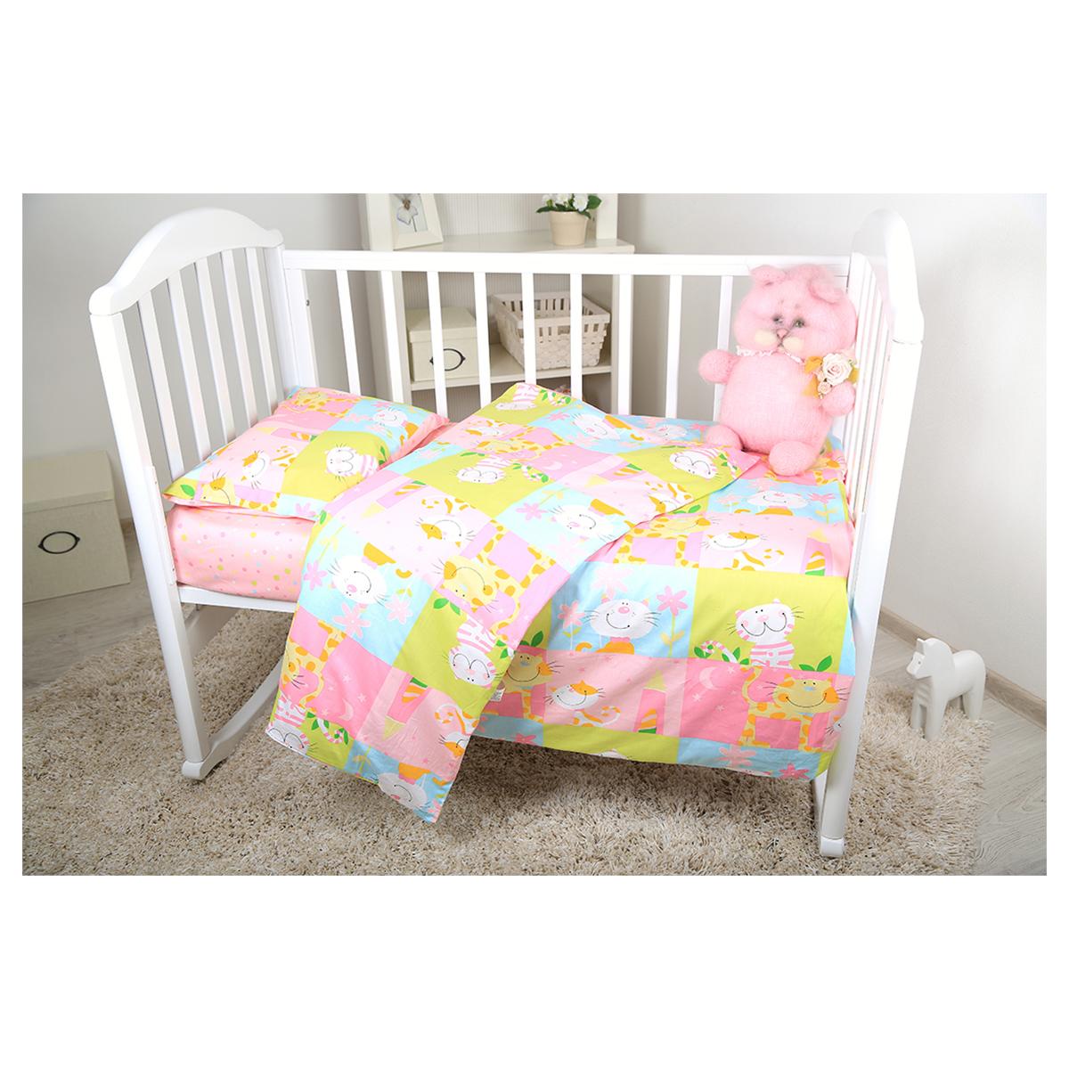 Baby Nice Комплект белья для новорожденных Веселые котята цвет розовыйВ 40010Комплект белья для новорожденных Baby Nice Веселые котята - нежный сатин делает детское постельное белье мягкими и шелковистыми. Красивое детское постельное белье помогает детям заснуть: они с удовольствием ложатся в кроватку и просыпаются в хорошем настроении. Этому способствуют и замечательные характеристики сатина: гипоаллергенность, отличный влаго- и теплообмен.