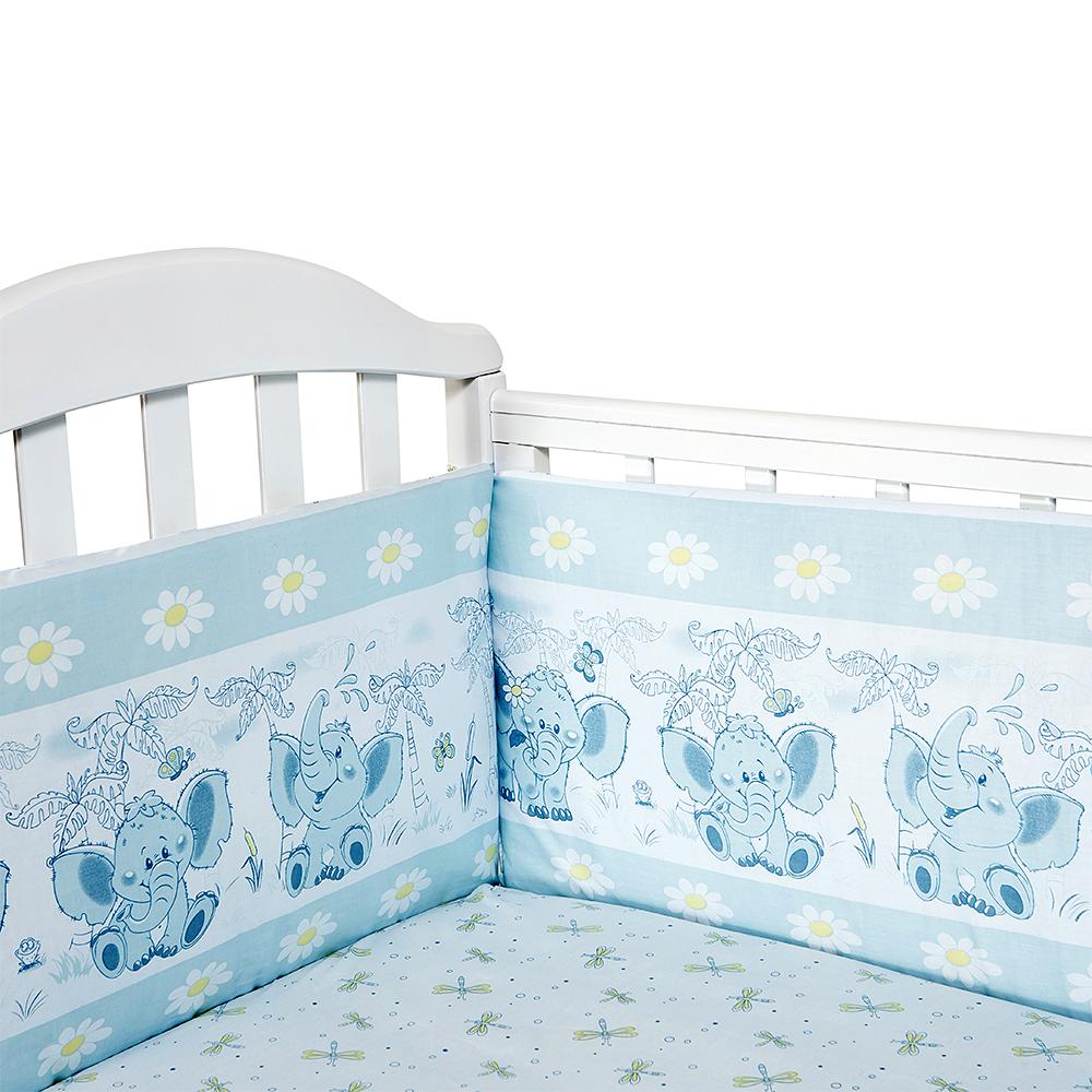 Baby Nice Бортик для кровати Слоненок цвет голубой -  Бортики, бамперы
