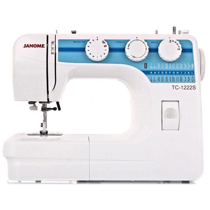 Janome TC 1222 S швейная машинаTC1222SJanome TC 1222 S - швейная машина для шитья и ремонта одежды. Она оборудована надежным вертикальным качающимся челноком, применяемым в бытовых швейных машинах уже многие десятилетия.Конструкция швейной машинки позволяет снять часть столика, образуя удобную рукавную платформу, на которой комфортно обрабатывать манжеты, штанины и другие трубчатые детали одежды. В пенале под крышкой столика предусмотрен удобный отсек для хранений дополнительных принадлежностей.Среди строчек, которые доступны в данной модели, имеется зигзаг с разной плотностью стежков, эластичная, оверлочная, потайная подгибка, стрейчевая для трикотажа, а также несколько декоративных строчек (фестон, соты). Кроме того, машинка выполняет усиленную (тройную) прямую строчку, по виду напоминающую цепочку.Модель также укомплектована четырьмя лапками: универсальной, для втачивания молнии, автоматического выметывания петли и потайной подгибки. Установить желаемую строчку можно с помощью поворота колеса, расположенного на корпусе машинки.Благодаря встроенной подсветке рабочей области можно комфортно работать даже в условиях слабой освещенности.