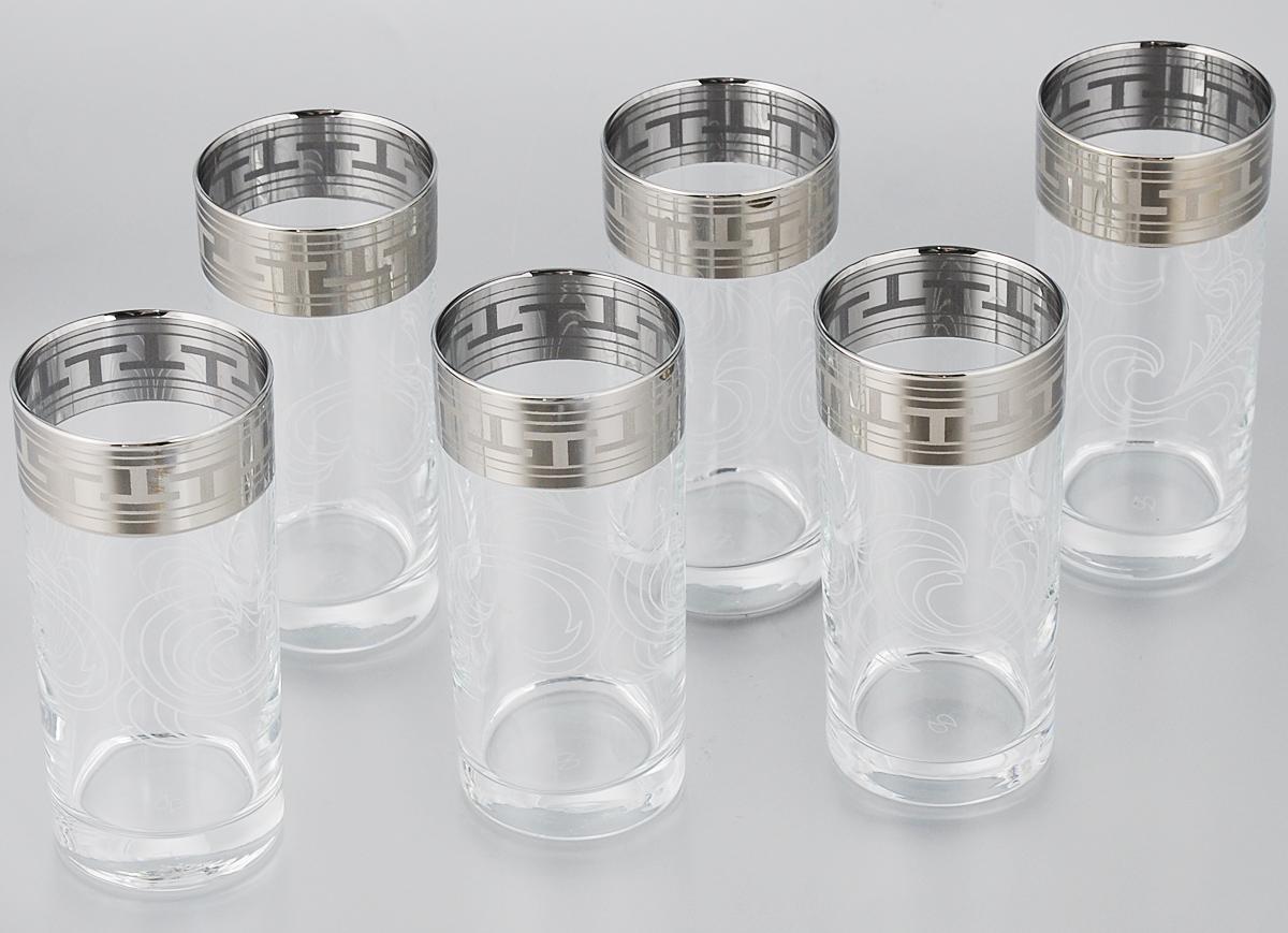 Набор стаканов для сока Гусь-Хрустальный Греческий узор, 290 мл, 6 штGE01-402Набор Гусь-Хрустальный Греческий узор состоит из 6 высоких стаканов, изготовленных из высококачественного натрий-кальций-силикатного стекла. Изделия оформлены красивым зеркальным покрытием и широкой окантовкой с оригинальным орнаментом. Стаканы предназначены для подачи сока, а также воды и коктейлей. Такой набор прекрасно дополнит праздничный стол и станет желанным подарком в любом доме. Разрешается мыть в посудомоечной машине. Диаметр стакана (по верхнему краю): 6,2 см. Высота стакана: 13,5 см.Уважаемые клиенты! Обращаем ваше внимание на незначительные изменения в дизайне товара, допускаемые производителем. Поставка осуществляется в зависимости от наличия на складе.