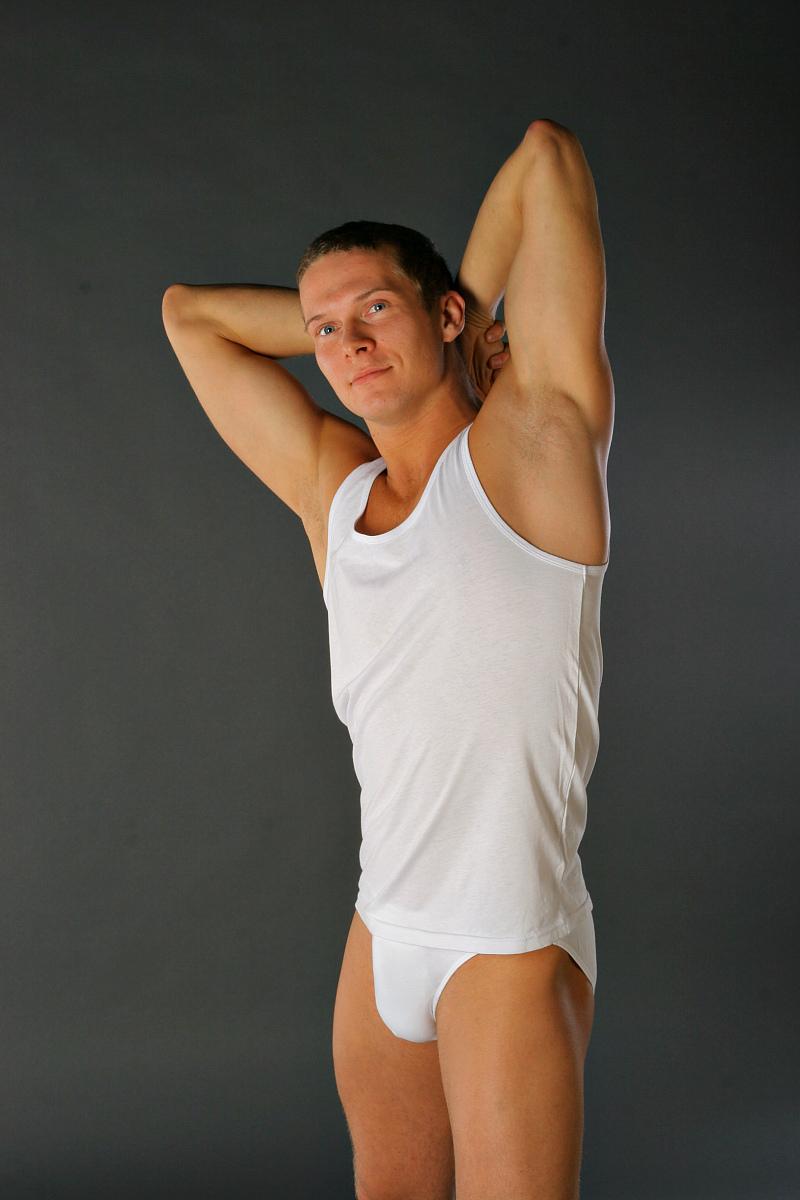 Майка мужская Lowry, цвет: белый. MM-118. Размер S (44) плавки мужские lowry цвет черный фиолетовый msb 1 размер l 48