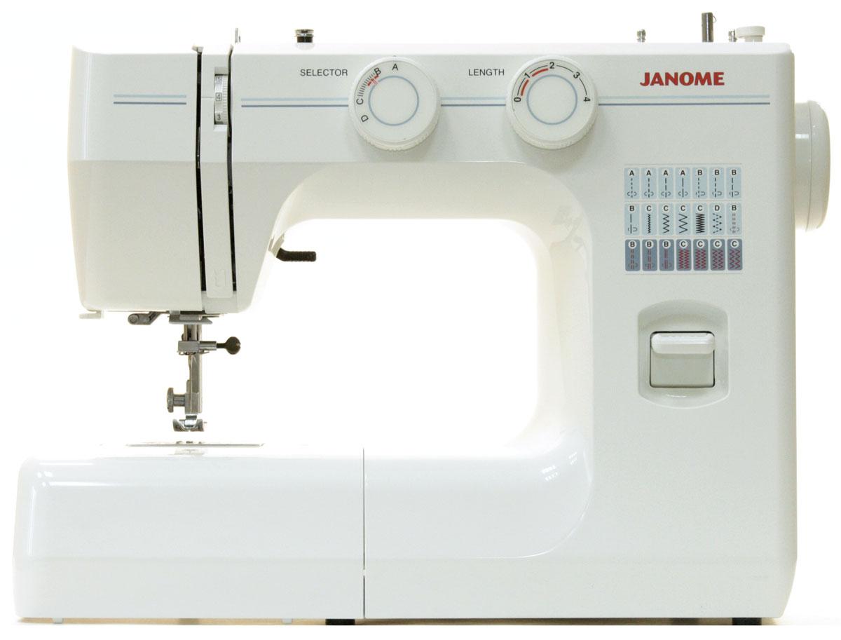Janome TM 2004 швейная машинаTM2004Швейная машина Janome TM 2004 может выполнять 3 операции и производить 3 вида строчек – прямую, эластичную, используемую для трикотажа, и оверлочную.Стежки, выполняемые данной моделью, имеют максимальную длину 4 мм и ширину 5 мм. Челнок является вертикальным качающимся, что значимо для многих пользователей. Также эта швейная машина имеет операцию выметывания петель полуавтоматом, которая проходит в 4 этапа переключения.Janome TM 2004 обладает регулятором давления лапки на ткань, а также рукавной платформой. Улучшит использование модели яркая подсветка, осуществляемое лампой накаливания. Корпус модели выполнен из пластика, а тип работы является электромеханическим.