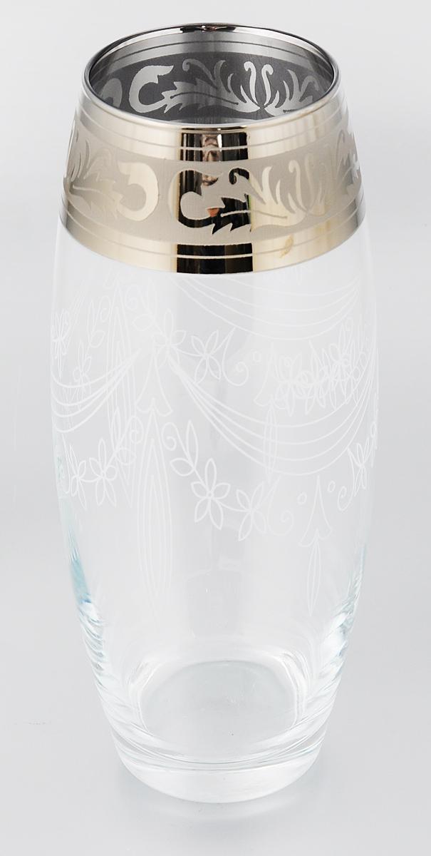 """Ваза Гусь-Хрустальный """"Флора"""" выполнена из высококачественного натрий- кальций-силикатного стекла.  Изделие декорировано белым матовым узором, зеркальным покрытием и  оригинальным орнаментом по краю. Такая ваза станет изысканным украшением  интерьера и прекрасным подарком к любому случаю.  Диаметр вазы (по верхнему краю): 8 см.  Высота вазы: 26 см.  Уважаемые клиенты!  Обращаем ваше внимание на незначительные изменения в дизайне товара,  допускаемые производителем. Поставка осуществляется в зависимости от  наличия на складе."""