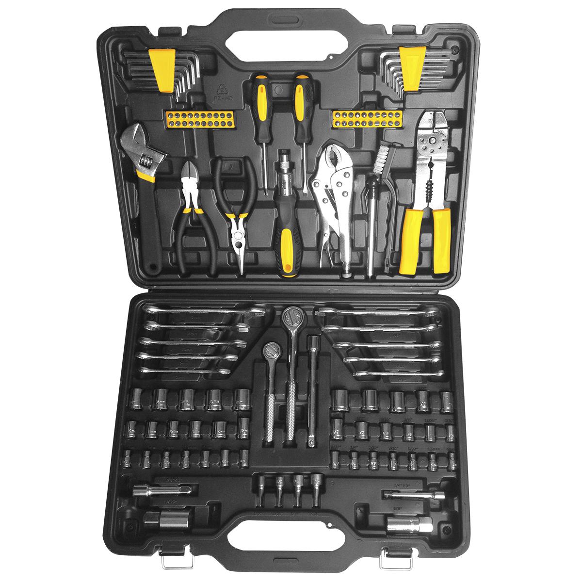 Набор инструментов Kolner KTS, 123 предметакн123тсНабор Kolner KTS содержит все необходимые инструменты для выполнения любых слесарных работ. Инструменты изготовлены из высококачественной хромованадиевой стали и закалены, благодаря чему имеют большой срок эксплуатации. Рукоятки инструментов обеспечивают комфорт во время работы, не утомляют и не натирают руку. Универсальный набор инструментов поставляется в кейсе, который удобно взять с собой или хранить в кладовке.Комплектация:- Шестигранный ключ: 6 шт.- Отвертка - 2 шт: 75 х 4 мм.- Держатель для бит с трещеткой: 170 мм.- Бита - 40 шт: 25 мм.- Разводной ключ 8.- Тонкогубцы.- Бокорезы.- Манометр.- Металлическая щетка.- Пинцы: 7.- Приспособление для зачистки проводов.- Гаечный ключ - 10 шт: 10-12-13-14-15.3/8.7/16.1/2.9/16.5/8.- Рукоятка с трещеткой квадрат: 1/4.- Рукоятка с трещеткой квадрат: 3/8.- Торцевая головка квадрат - 14 шт: 1/4: 4-4.5-5-5.5-6-6.5-7-8-9-10-11-12-13-14 мм.- Торцевая головка квадрат - 10 шт: 1/4: 5/32-3/16-7/32-1/4-9/32-5/16-11/32-3/8-7/16-1/2.- Торцевая головка квадрат - 6 шт (3/8): 12-13-14-15-16-17 мм.- Торцевая головка квадрат - 6 шт (3/8): 3/8-7/16-1/2-9/16-5/8-11/16.- Удлинитель квадрат: 3/8 3.- Удлинитель квадрат: 3/8 6.- Удлинитель квадрат: 1/4 3.- Свечной ключ квадрат (3/8): 16 мм.- Свечной ключ квадрат (3/8): 21 мм.- Торцевая головка квадрат - 4 шт (1/4): 1/4-5/16-3/8-7/16.
