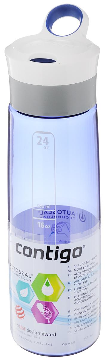 Бутылка для воды Contigo Grace, цвет: синий, белый, 750 млcontigo0202Бутылка для воды Contigo Grace изготовлена из высококачественного прозрачного пластика, безопасного для здоровья. Закручивающаяся крышка с герметичным клапаном для питья обеспечивает защиту от проливания. Оптимальный объем бутылки позволяет взять небольшую порцию напитка. Она легко помещается в сумке или рюкзаке и всегда будет под рукой. Изделие имеет мерную шкалу, которая позволит контролировать количество жидкости. Такая идеальная бутылка небольшого размера, но отличной вместимости наполняет оптимизмом, даря заряд позитива и хорошего настроения. Бутылка для воды Contigo Grace - отличное решение для прогулки, пикника, автомобильной поездки, занятий спортом и фитнесом. Высота бутылки (с учетом крышки): 26 см.Диаметр дна: 6,5 см.