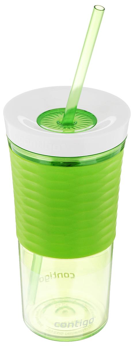 """Шейкер Contigo """"Shake&Go"""", изготовленный из высококачественного пластика,  выполнен в виде стаканчика. Закручивающаяся крышка снабжена отверстием  для трубочки (входит в комплект). Шейкер предназначен для холодных напитков  и идеально подходит для того, чтобы взять с собой в  дорогу воду, морс, смузи, шейк, чай или кофе. Двойные стенки дольше  сохраняют напиток холодным. Резиновый ободок на корпусе обеспечивает  надежный хват и  комфорт во время использования.  Вы любитель коктейлей, но времени сходить в бар у вас нет? Не  расстраивайтесь. С помощью этого шейкера вы сможете приготовить самый  экзотический смешанный напиток у себя дома, чем приятно  удивите гостей, родных и близких вам людей. Почувствуйте себя  профессиональным барменом!  Можно мыть в посудомоечной машине. Диаметр шейкера (по верхнему краю): 7,5 см. Диаметр основания шейкера: 6,5 см. Высота шейкера (с учетом крышки): 17,7 см. Длина трубочки: 25 см."""