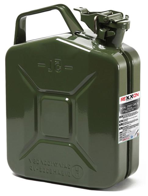 Канистра Rexxon, с разрешением для бензина, металлическая, 5 л канистра для топлива dollex с носиком 10 л