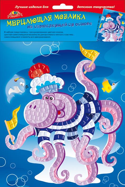 Апплика Мозаика мерцающая Осьминоже мозаика апплика мозаика гелевая а6 дельфин